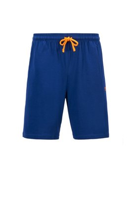 Loungewear shorts in stretch cotton jersey with drawstring waist, Blue