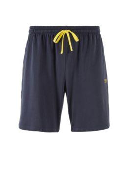 Loungewear shorts in stretch cotton jersey with drawstring waist, Dark Blue
