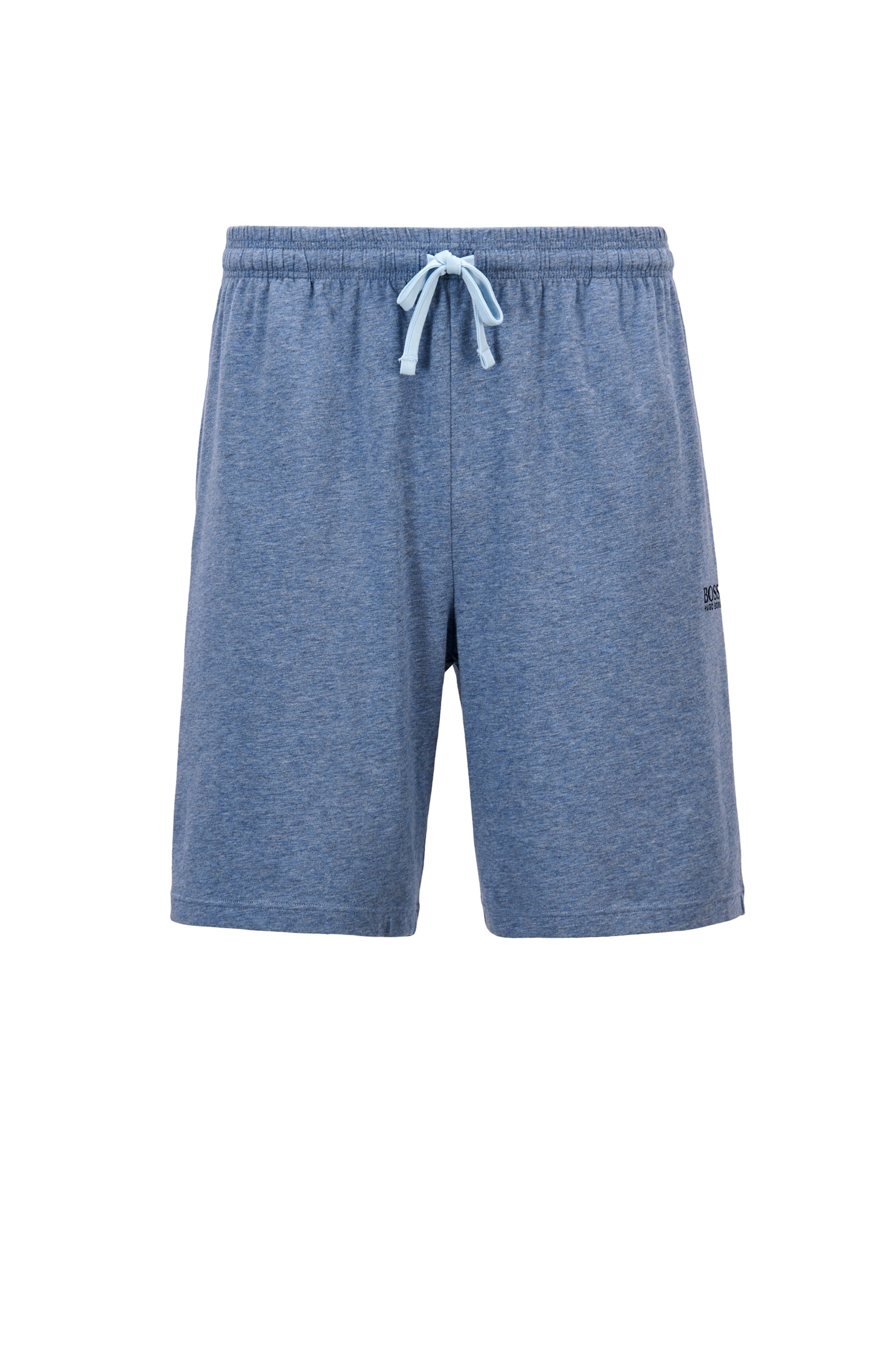 Loungewear shorts in stretch cotton jersey with drawstring waist, Light Blue