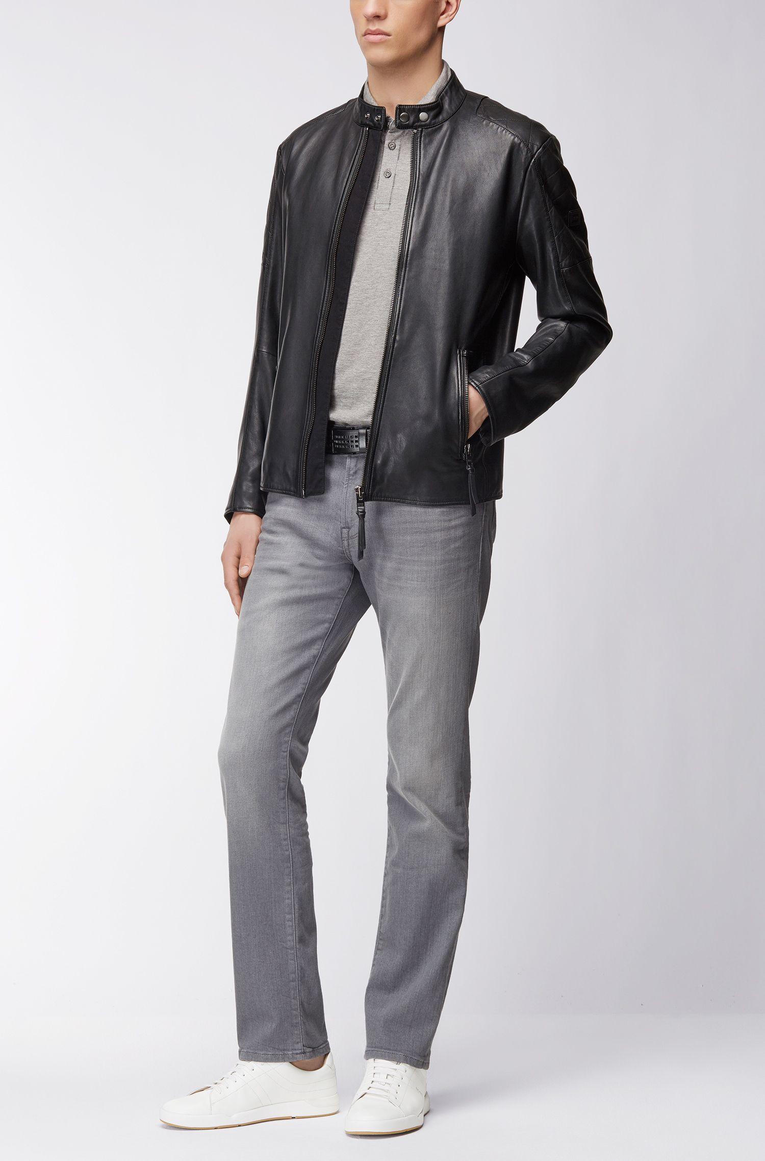 Lichtgrijze regular-fit jeans van comfortabel stretchdenim met used-afwerking