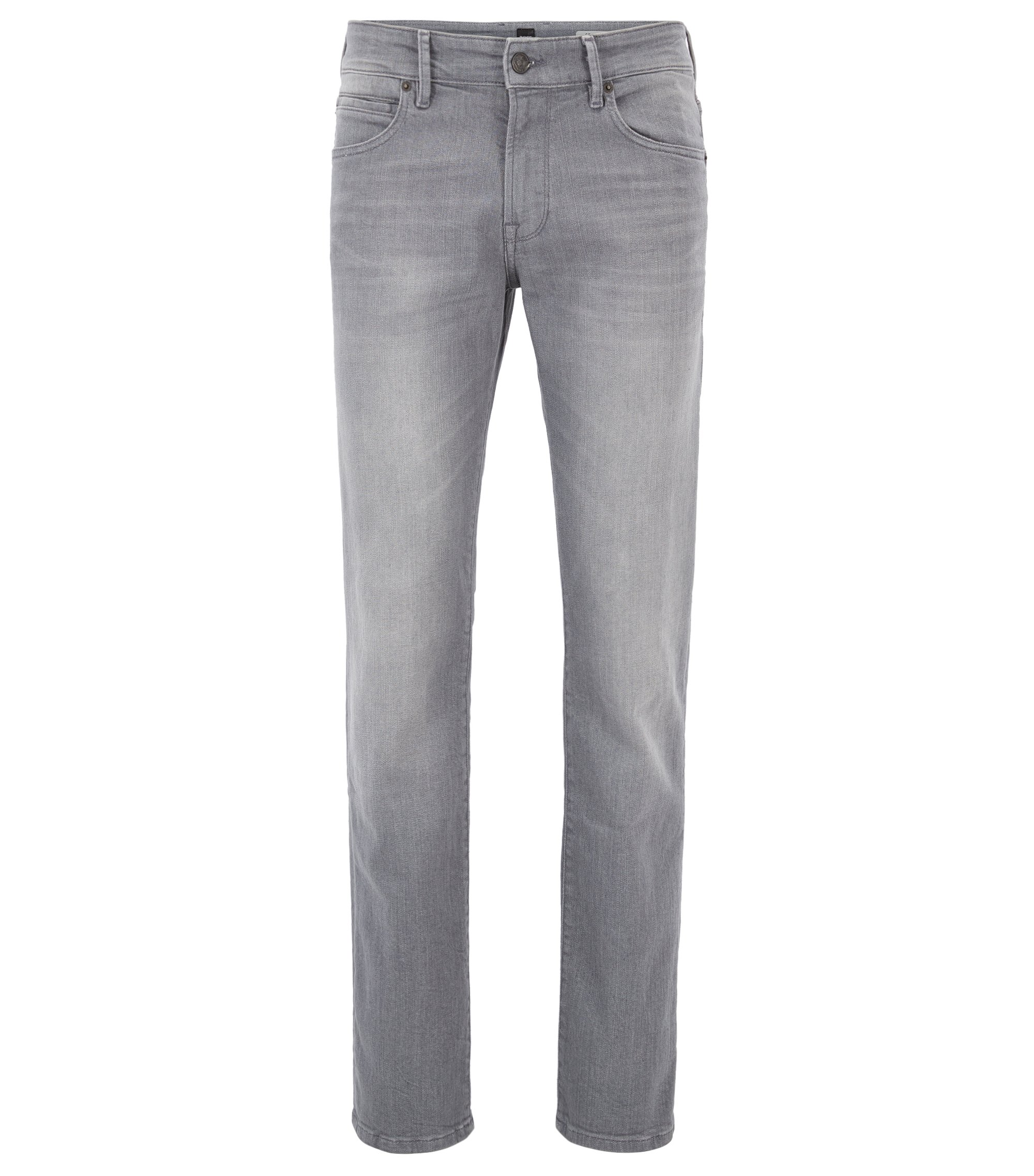 Regular-Fit Jeans aus komfortablem Stretch-Denim im Used-Look, Grau