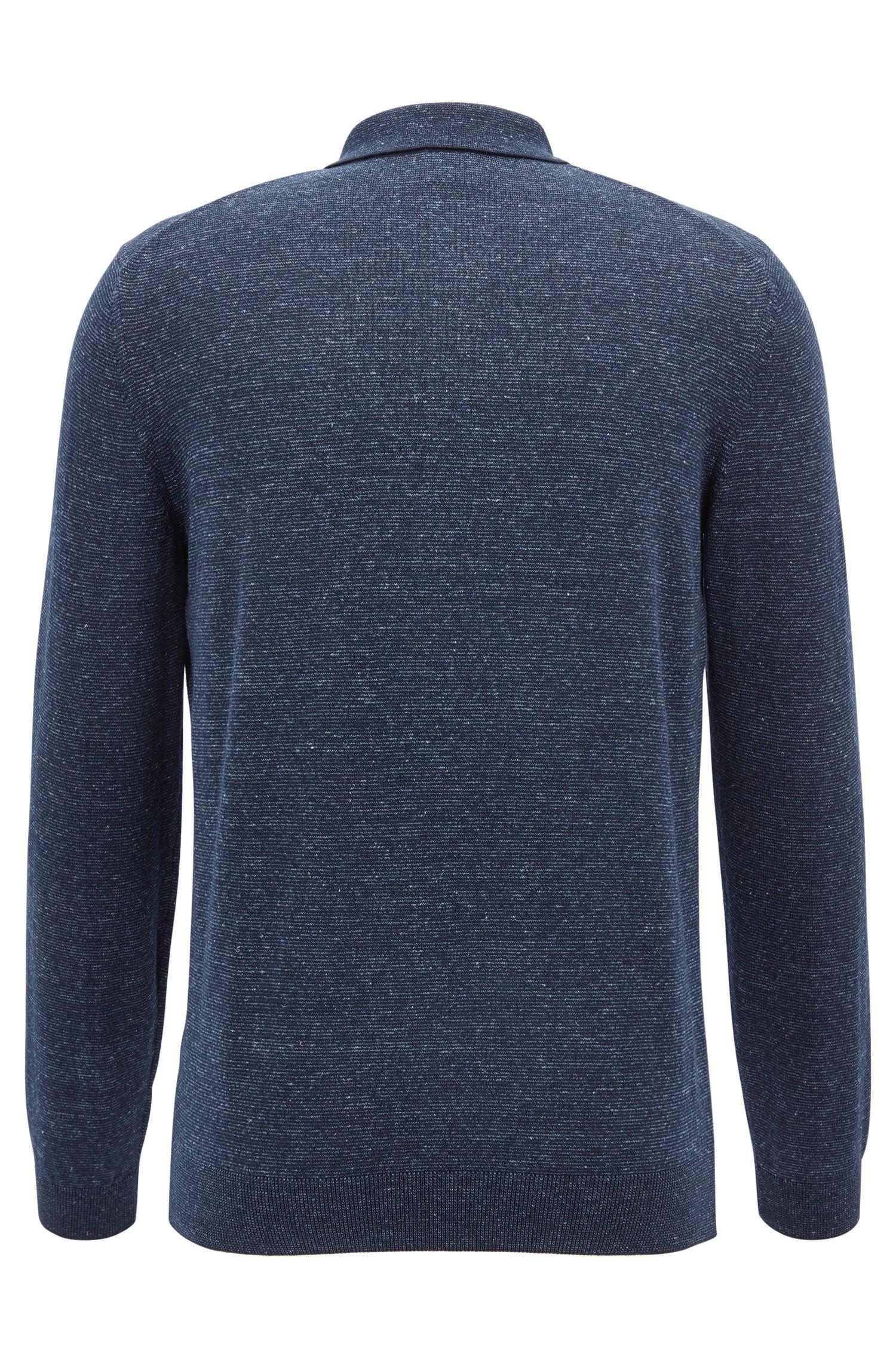 Slim-Fit Longsleeve-Poloshirt aus Baumwoll-Mix mit Leinen, Dunkelblau