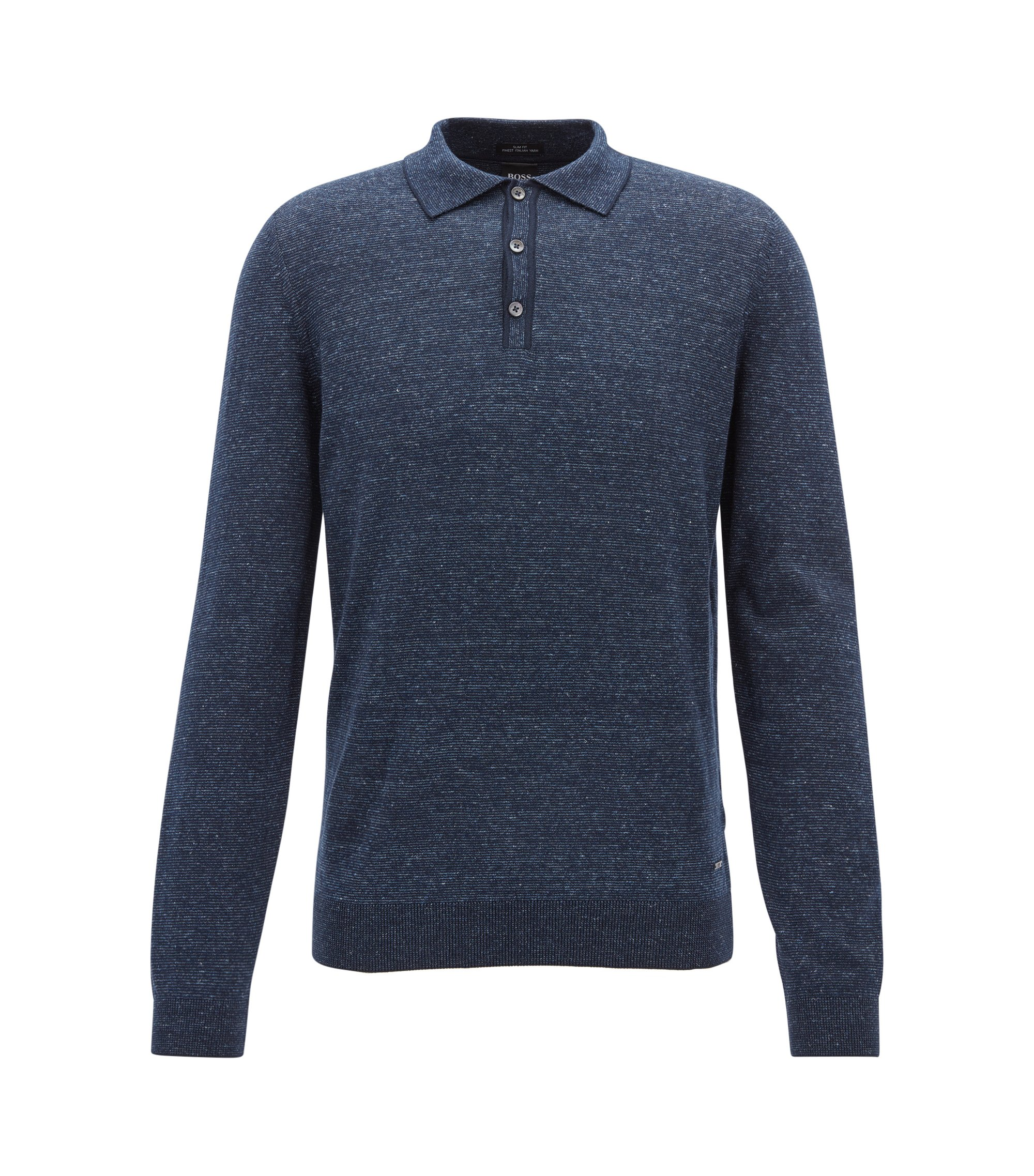 Slim-fit long-sleeved polo shirt in a cotton blend, Dark Blue
