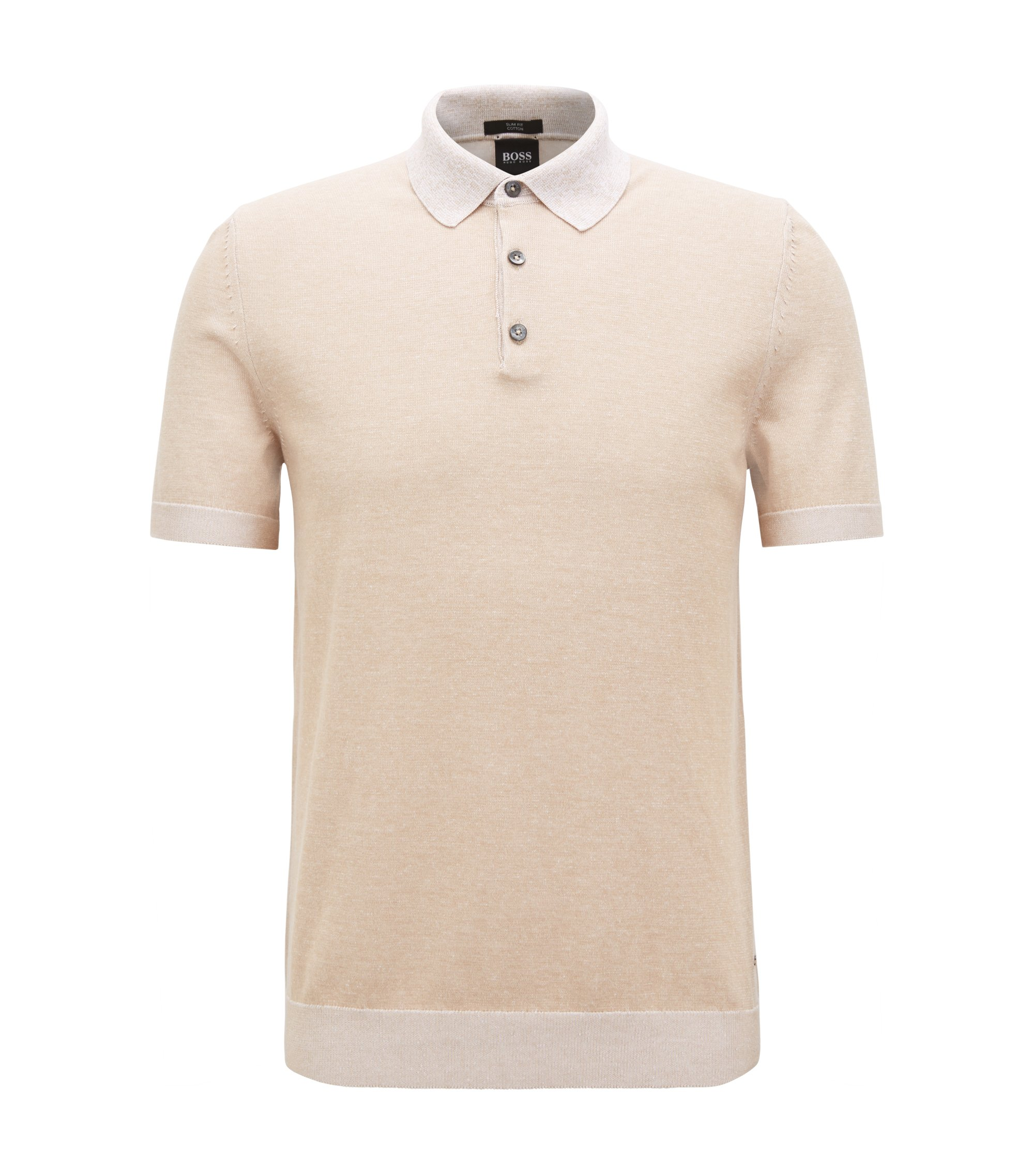 Slim-fit polo shirt in knitted melange cotton, Natural