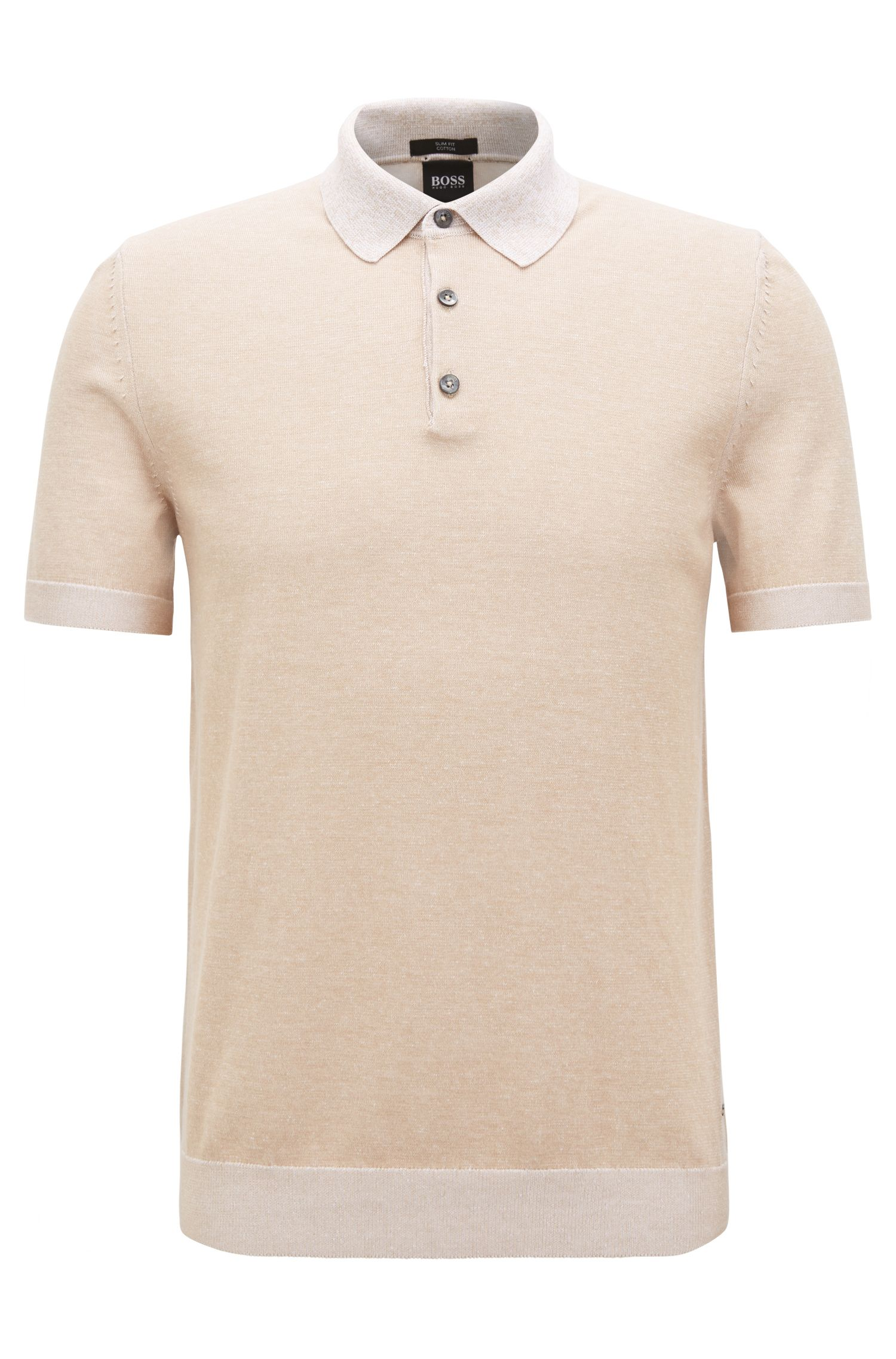 Slim-fit polo shirt in knitted melange cotton