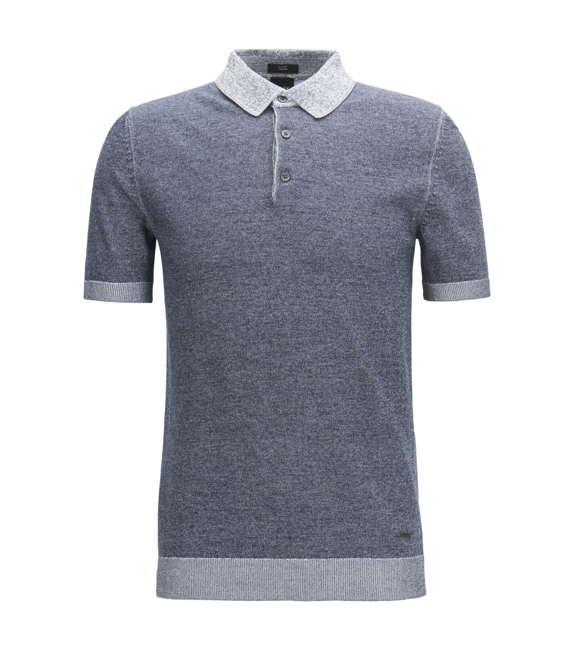 Slim-fit polo shirt in knitted melange cotton, Dark Blue