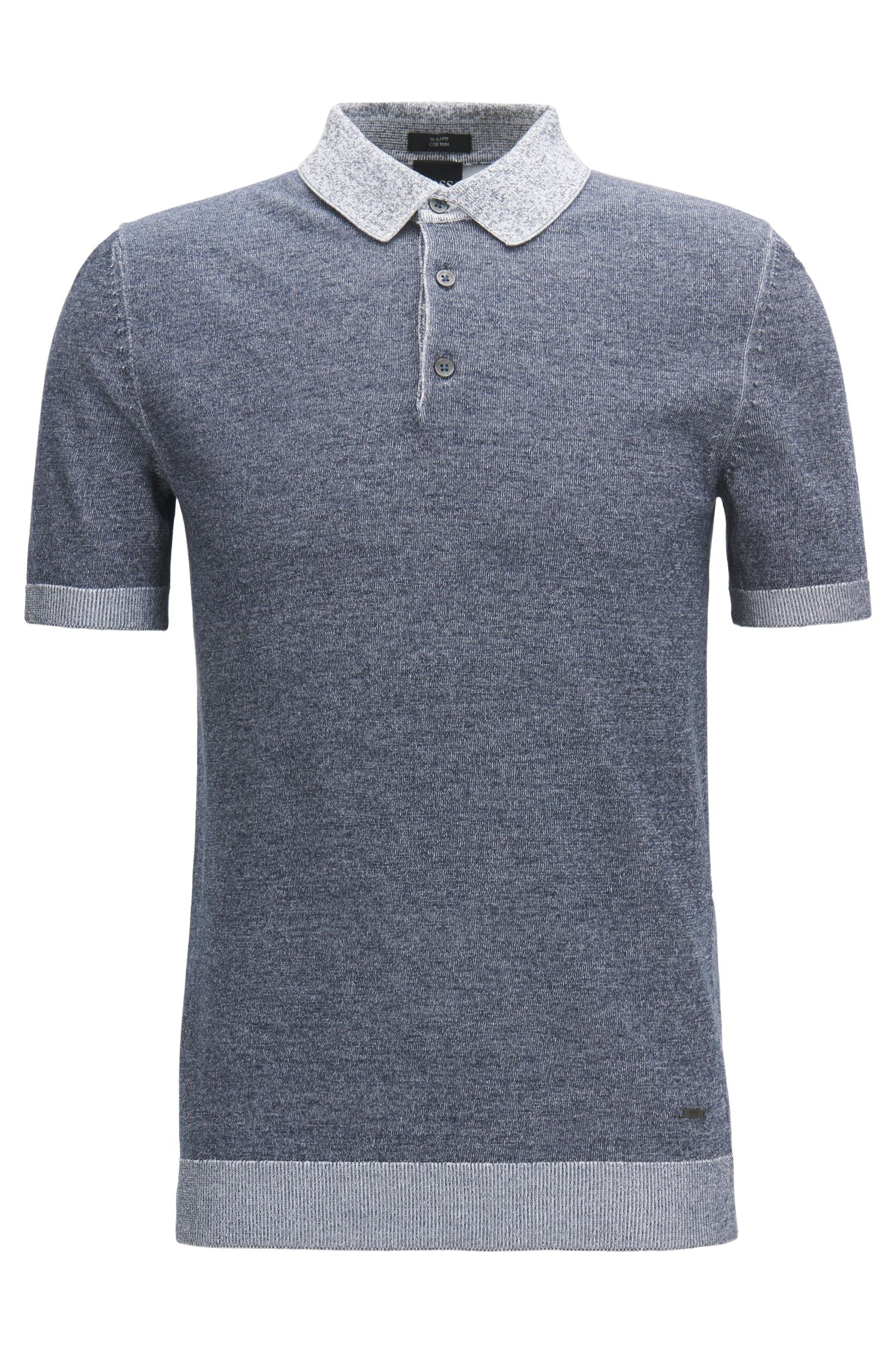 Polo Slim Fit en maille de coton chinée