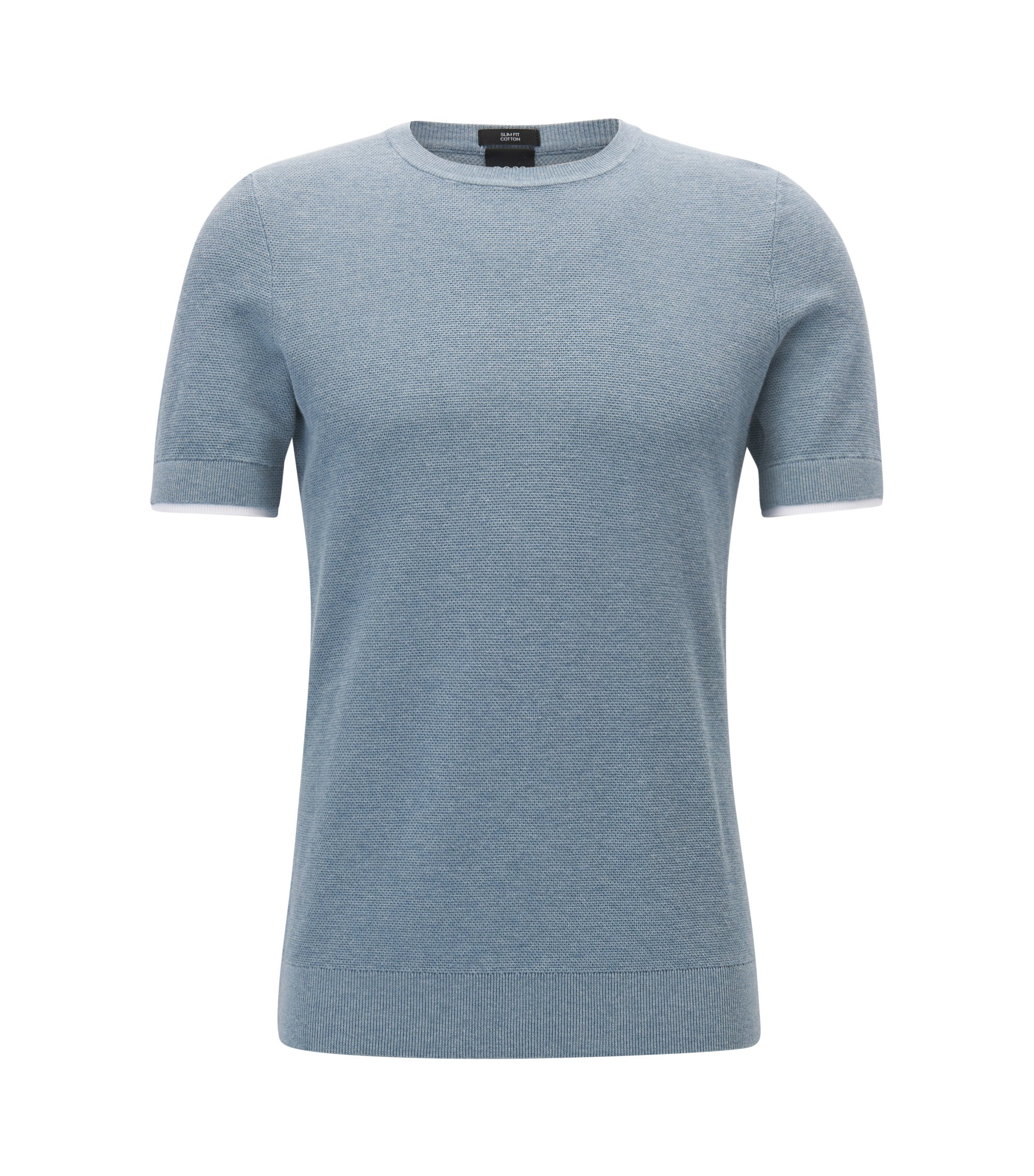 Short-sleeved knitted-cotton sweater with double-layer cuffs, Grey