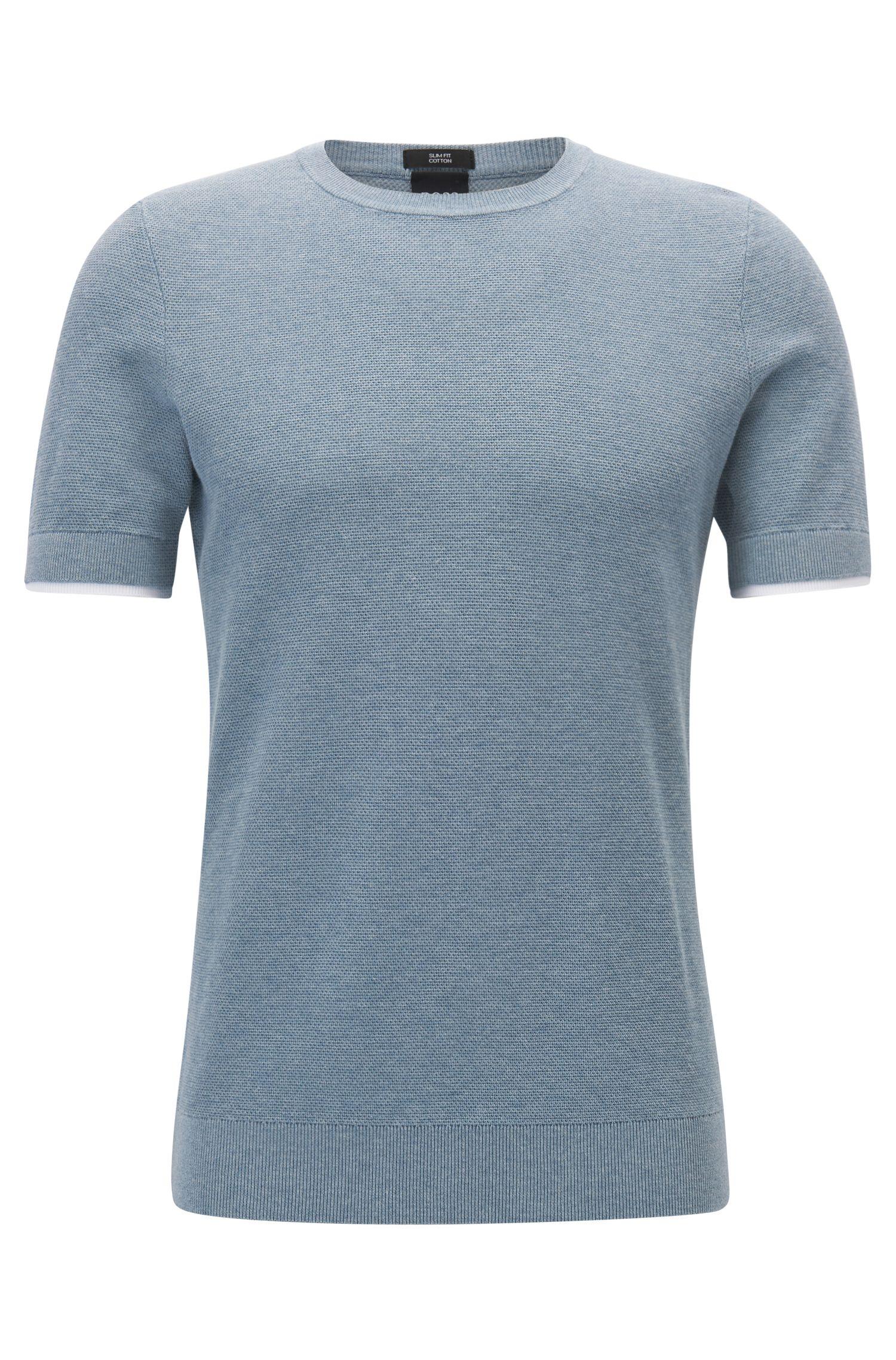 Pull à manches courtes en maille de coton à bordures double épaisseur au bas des manches