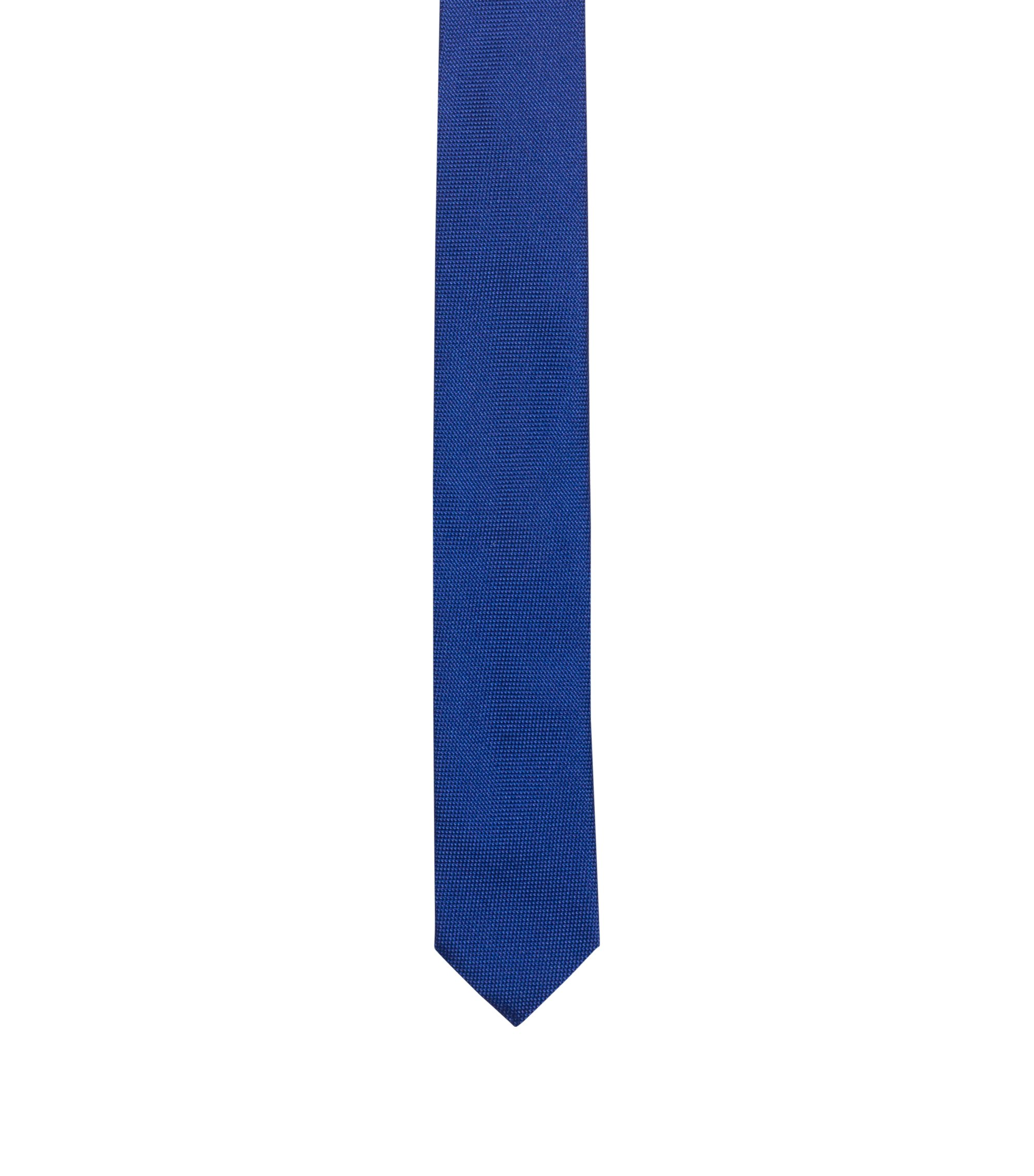 Silk tie in textured jacquard, Blue