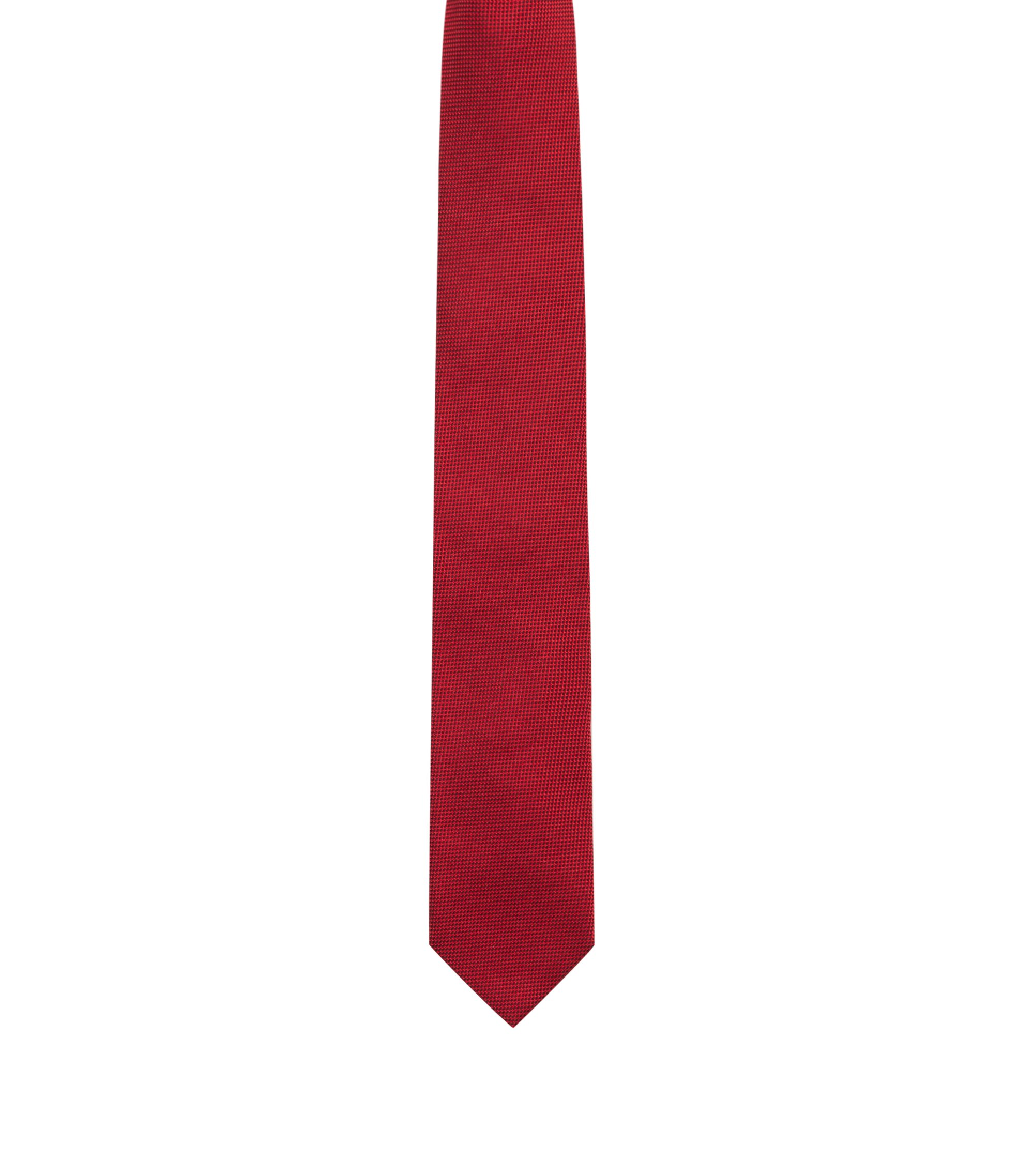 Silk tie in textured jacquard, Red