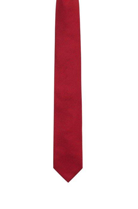 Cravate en soie, en jacquard texturé, Rouge