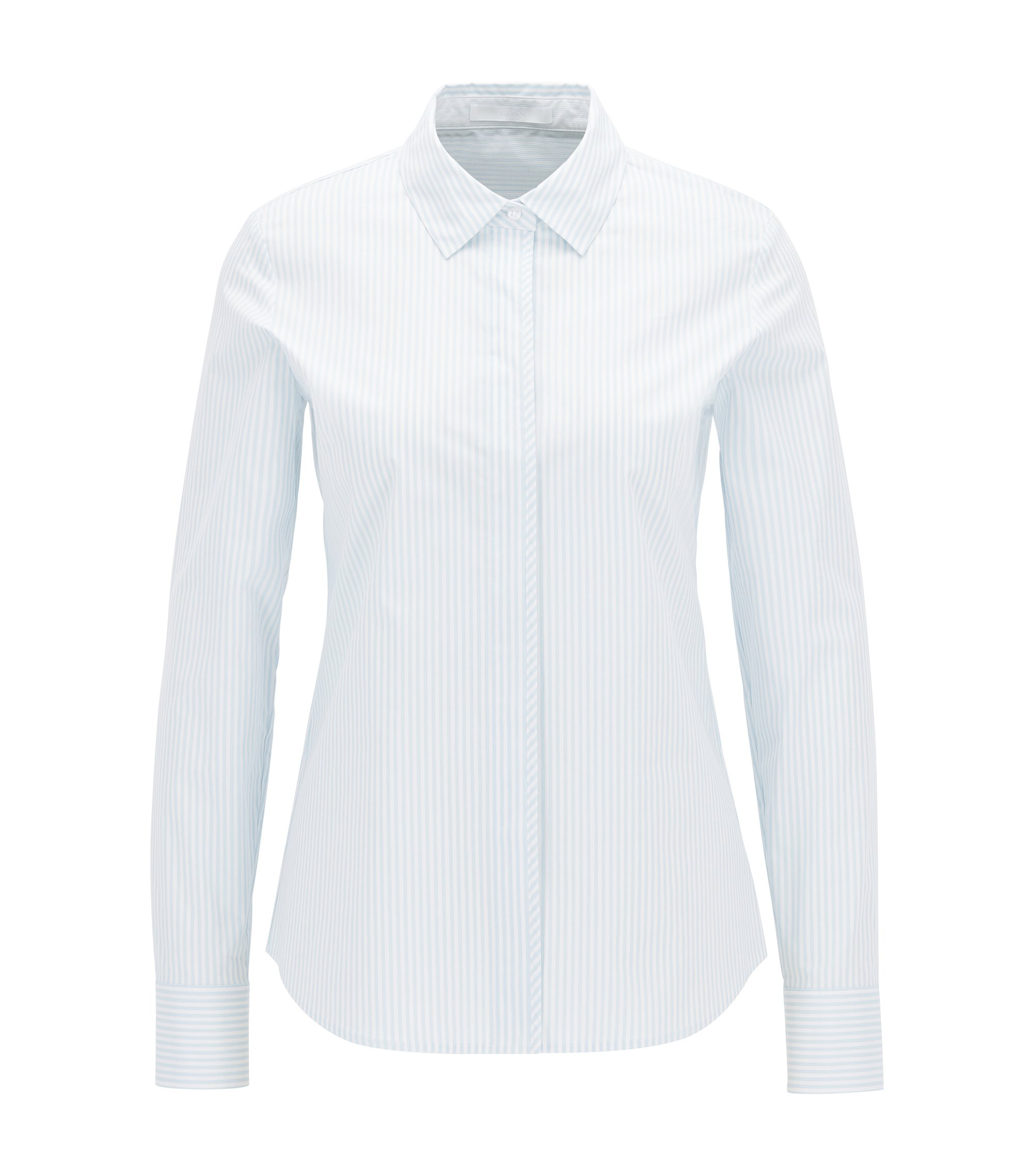 Pinstripe regular-fit shirt in stretch cotton, Patterned