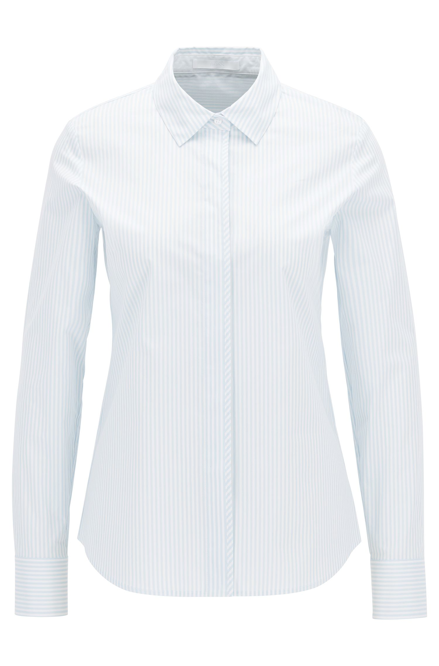 Pinstripe regular-fit shirt in stretch cotton