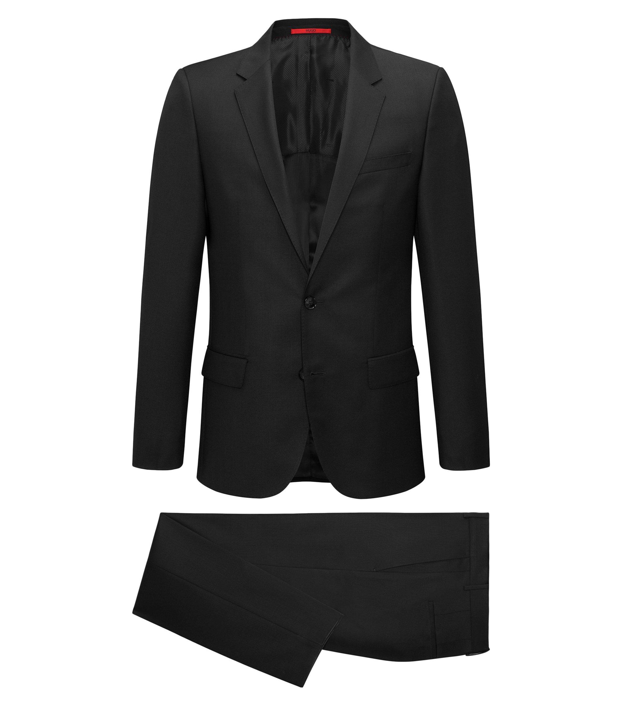 Slim-fit kostuum van garengeverfde scheerwolserge, Zwart