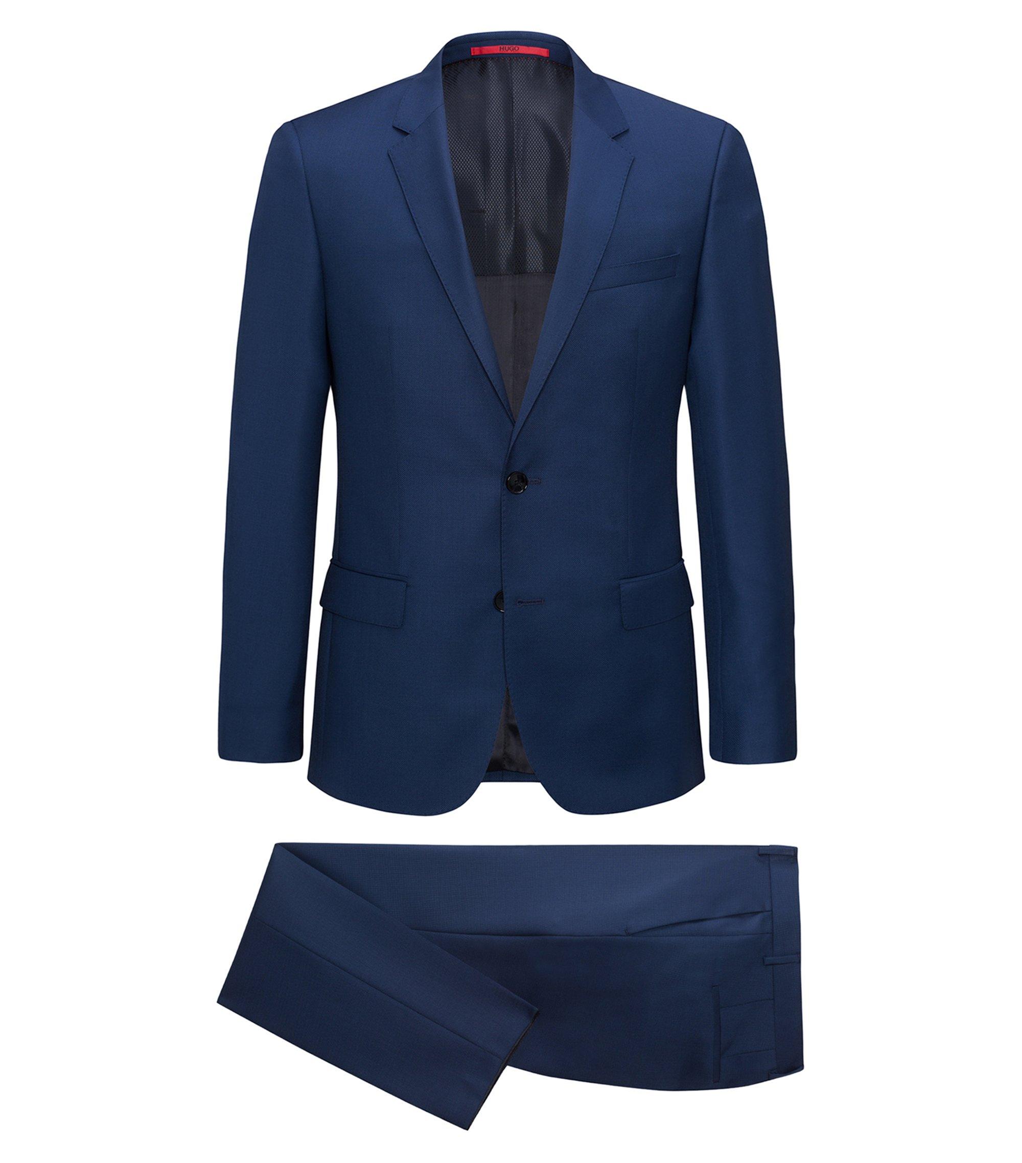 Slim-fit kostuum van garengeverfde scheerwolserge, Blauw
