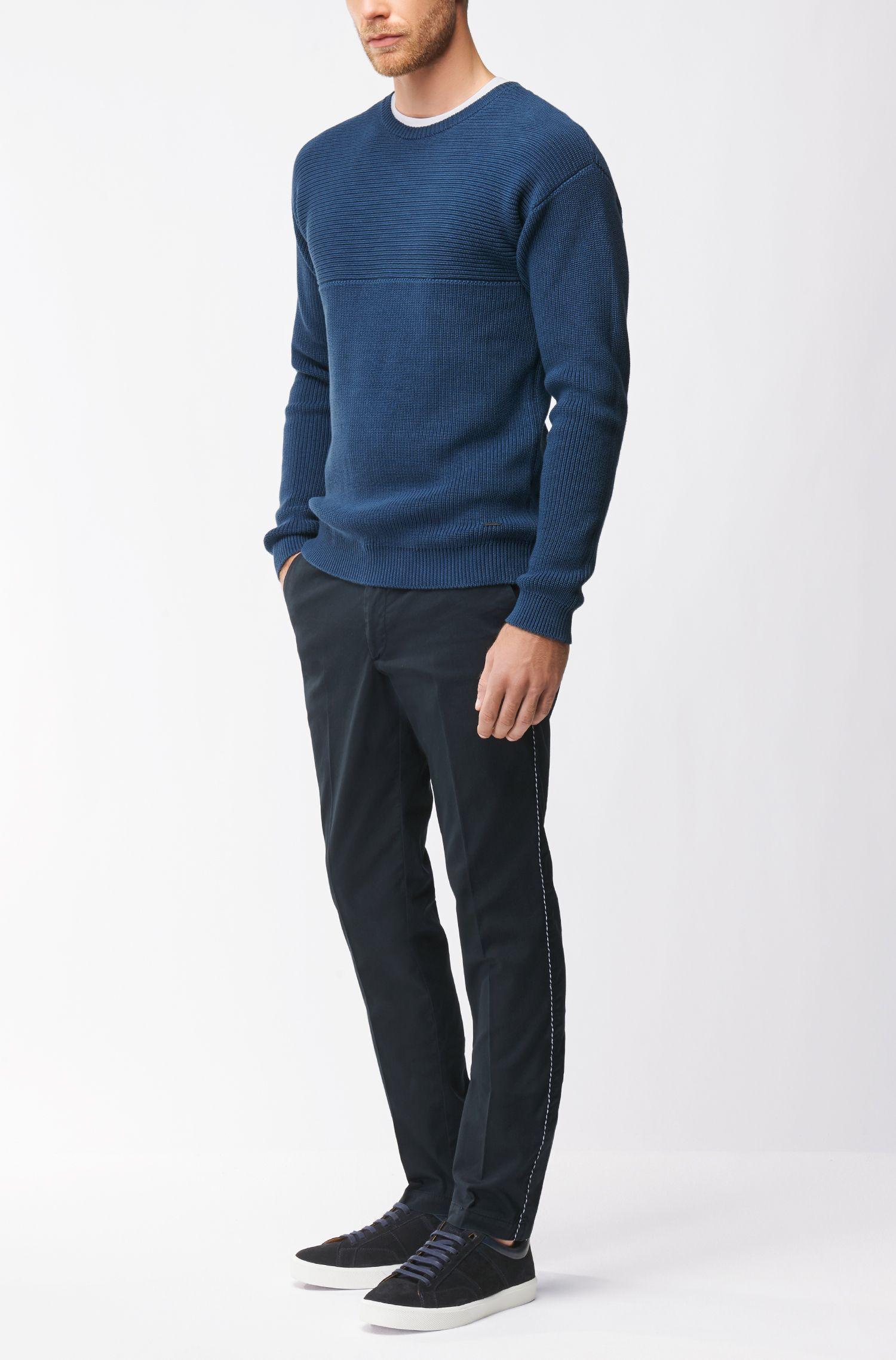 Reverse-knit sweater in Pima cotton, Dark Blue