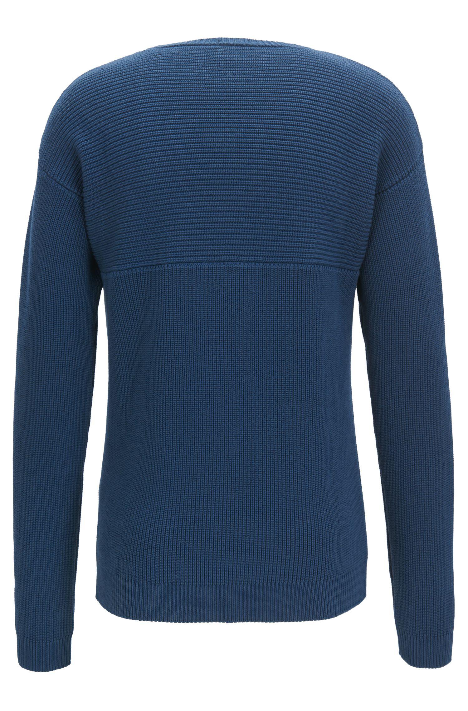 Pullover aus linksgestrickter Pima-Baumwolle, Dunkelblau
