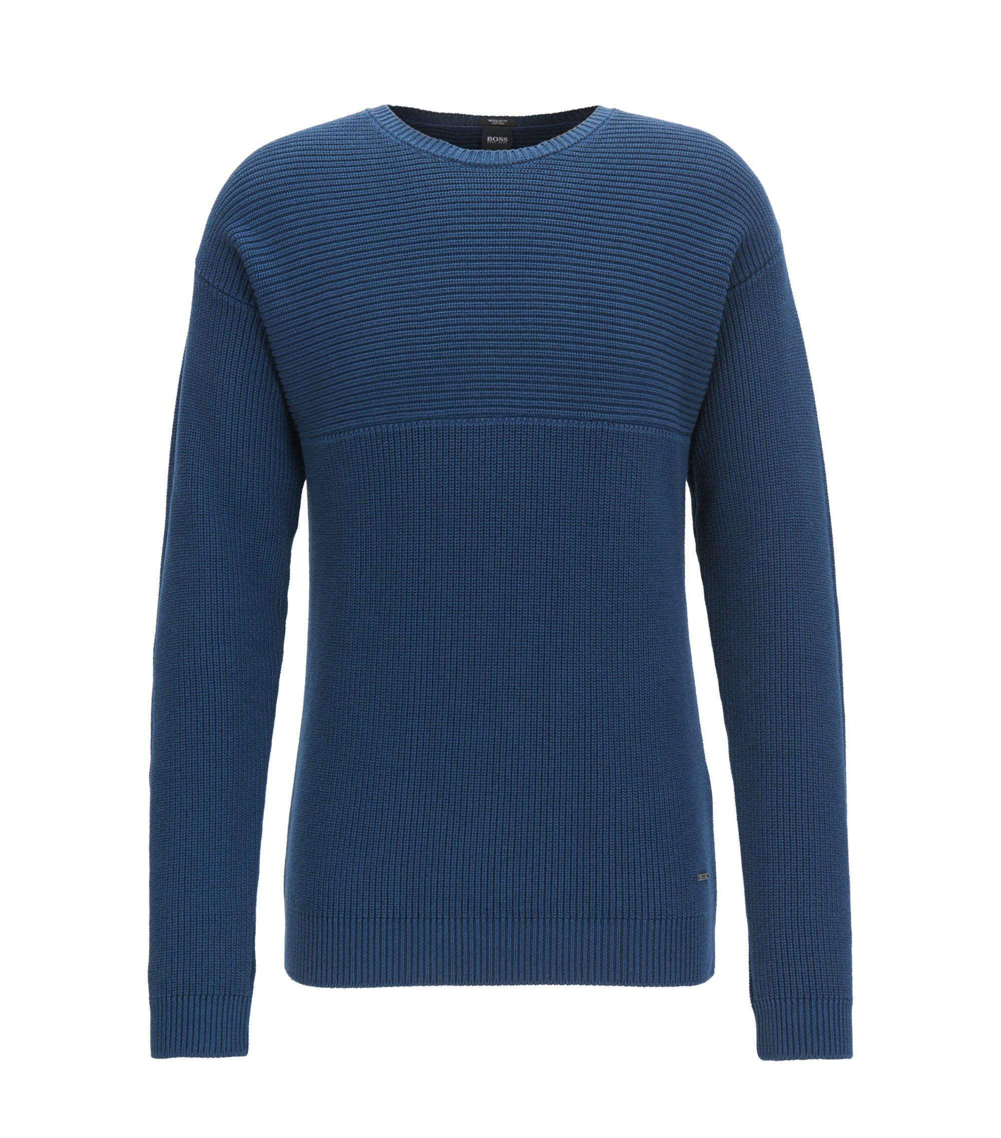 Maglione in cotone Pima in maglia a rovescio, Blu scuro