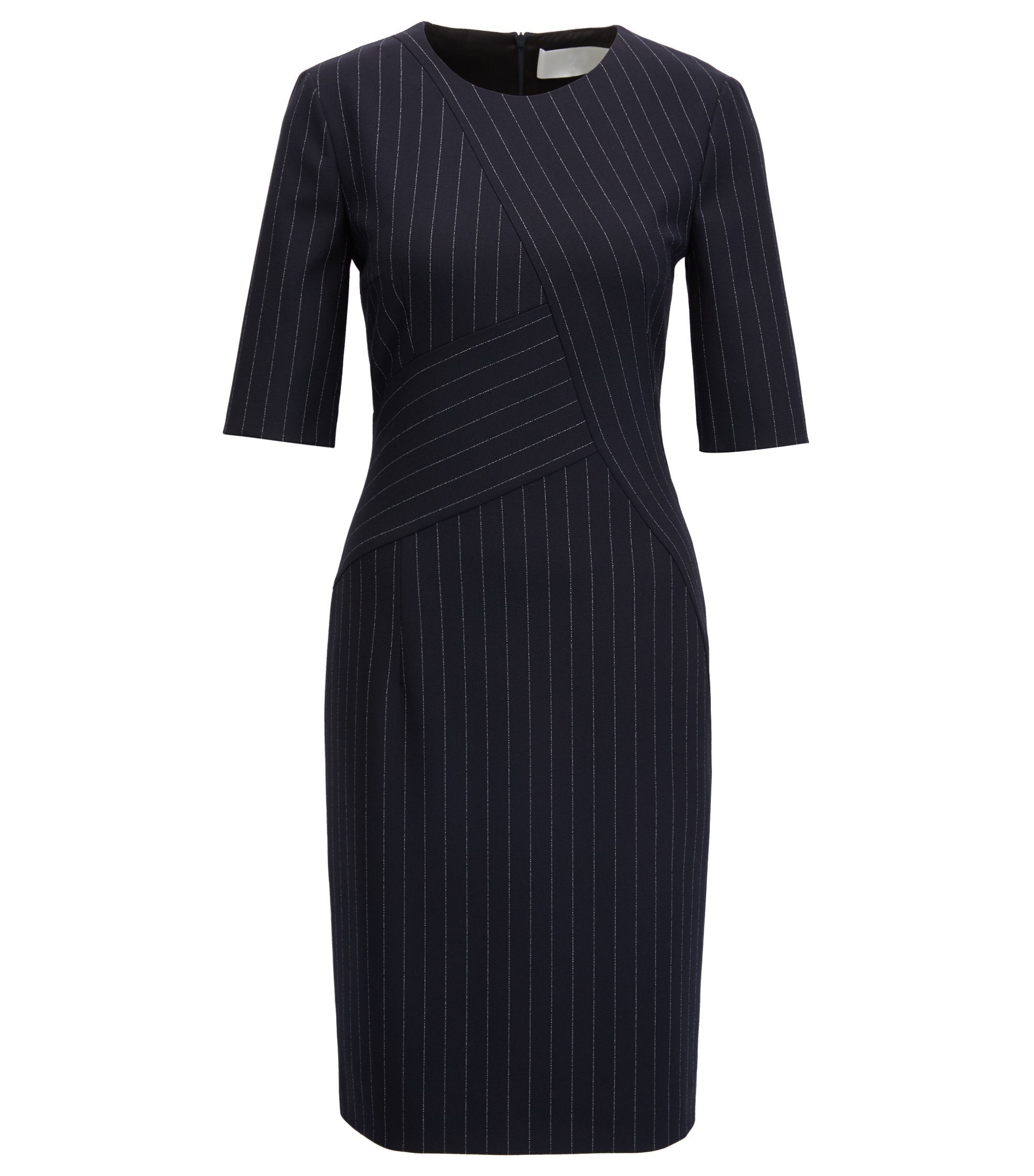 Pinstripe dress in midweight fabric, Patterned