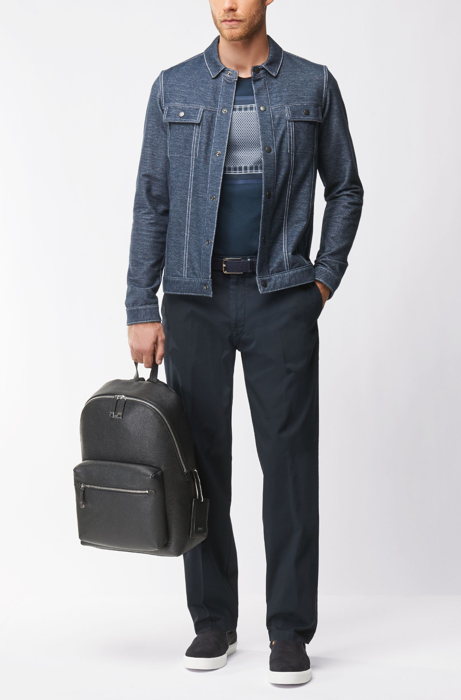 Regular-Fit Jacke aus Stretch-Baumwolle in Denim-Optik