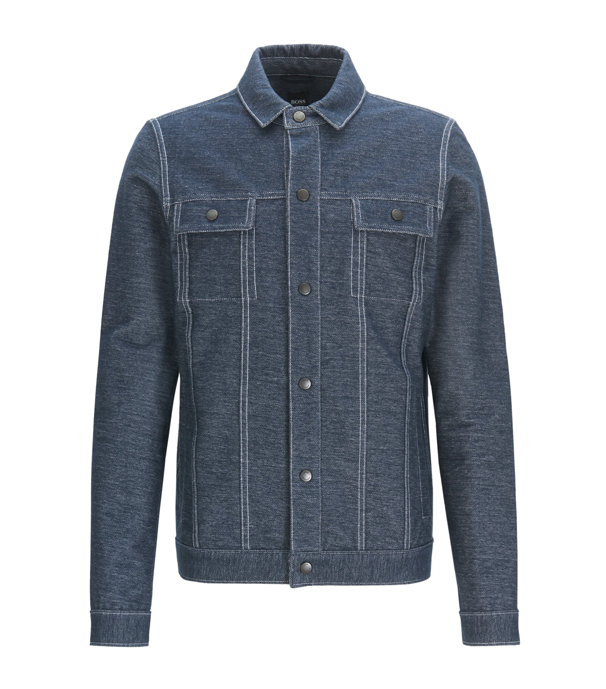 Regular-fit jacket in denim-effect cotton, Dark Blue