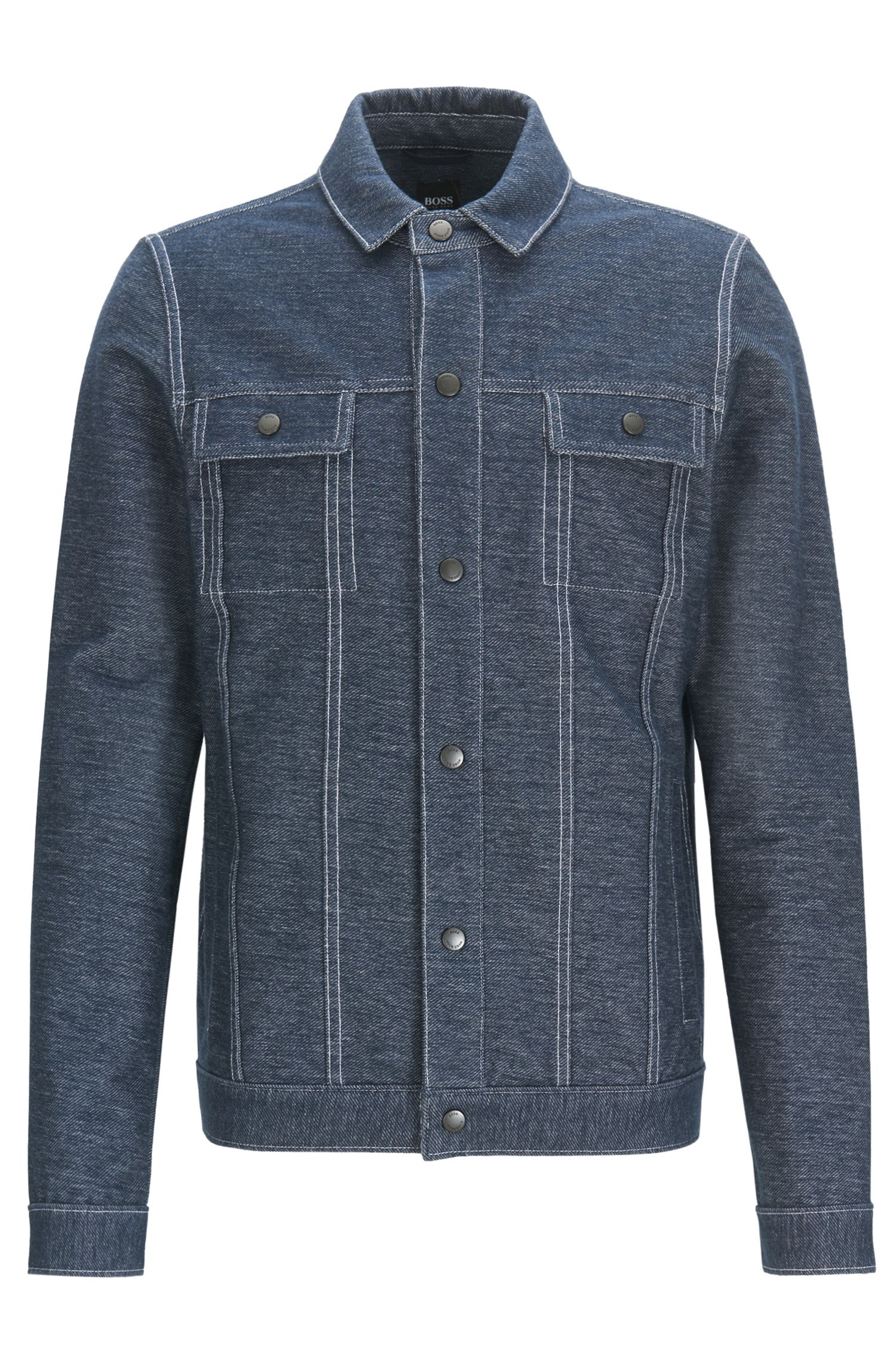 Regular-fit jacket in denim-effect cotton