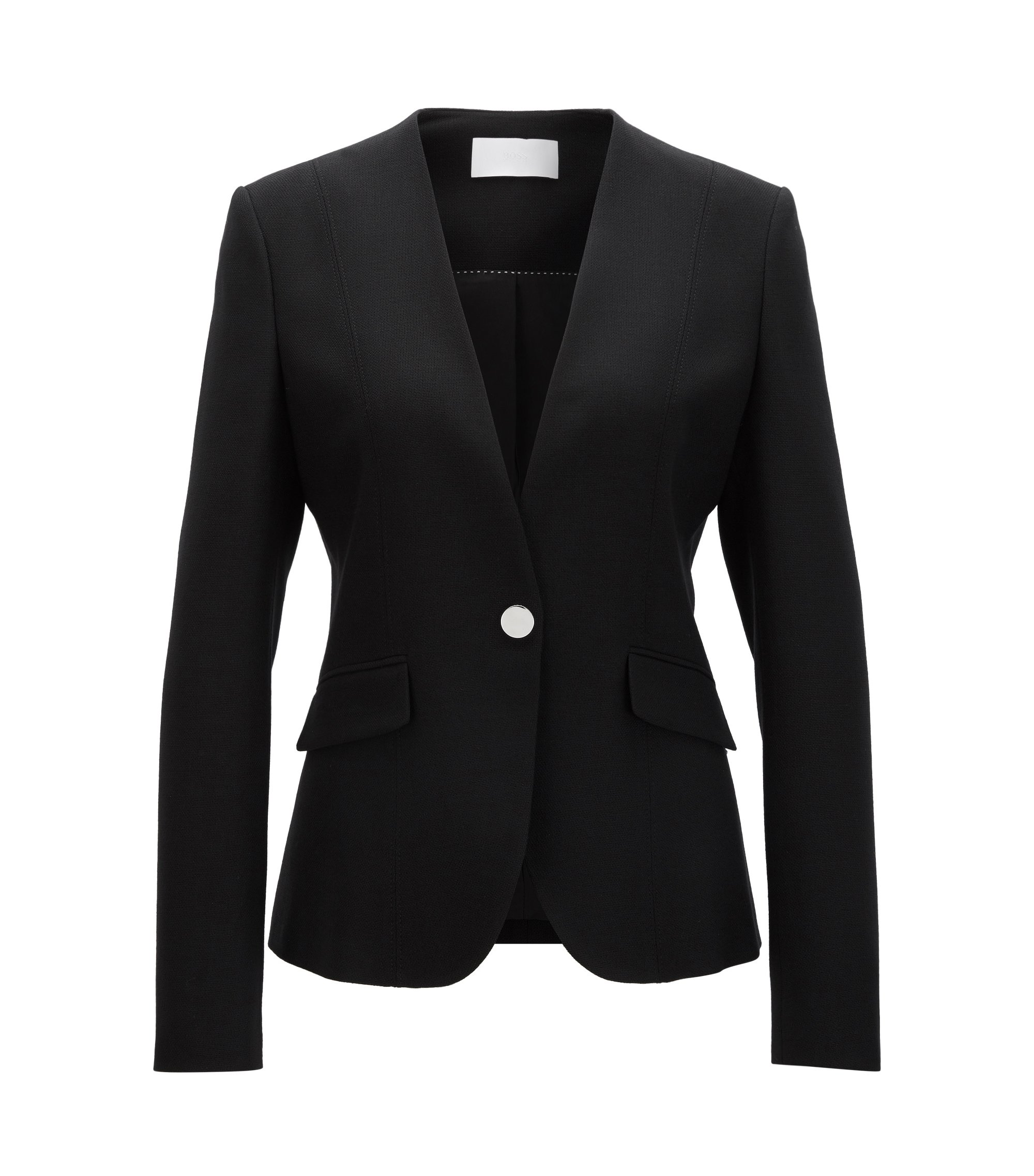 Chaqueta regular fit en lana virgen elástica, Negro
