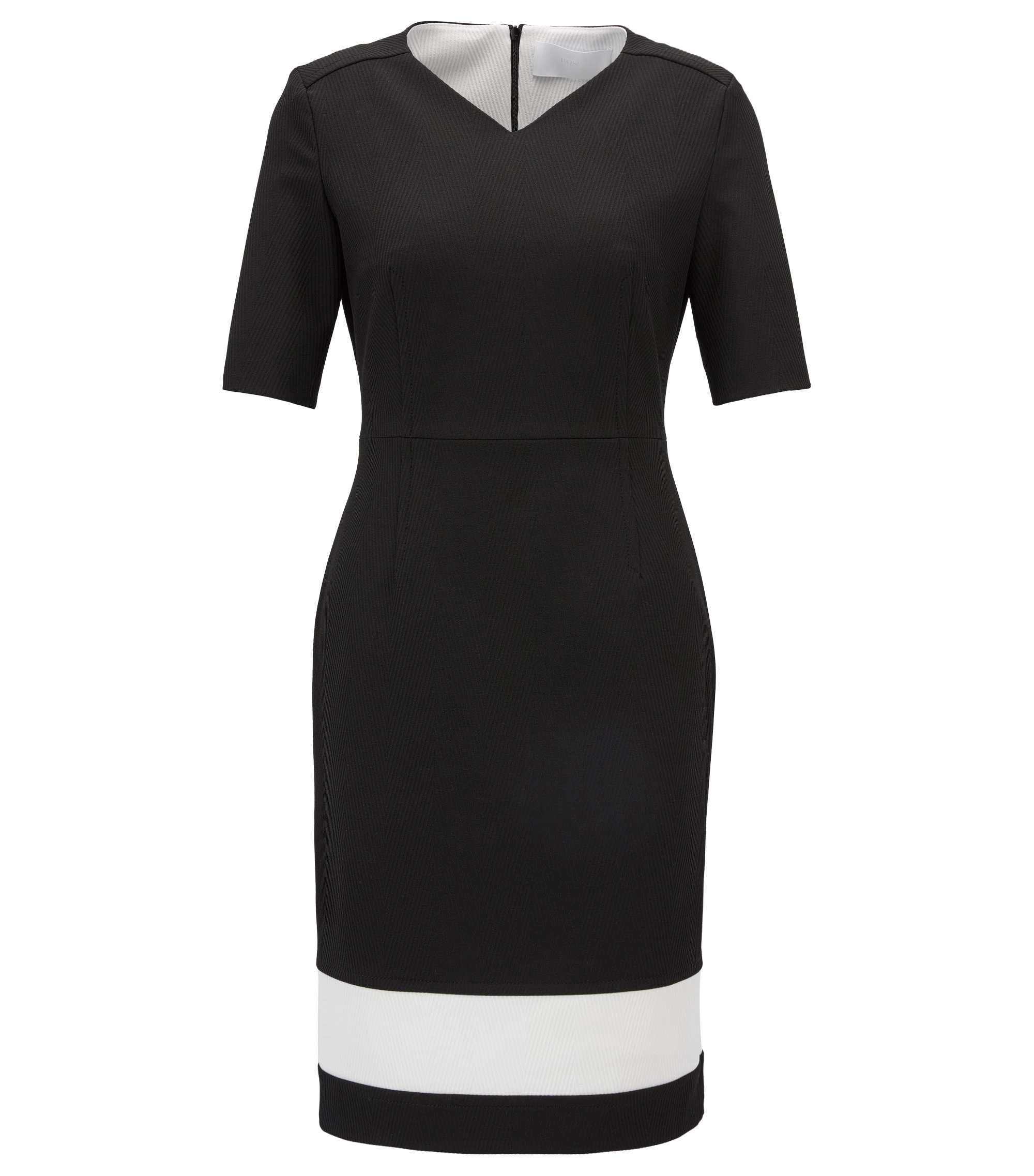 V-neck colourblock dress in structured stretch fabric, Black