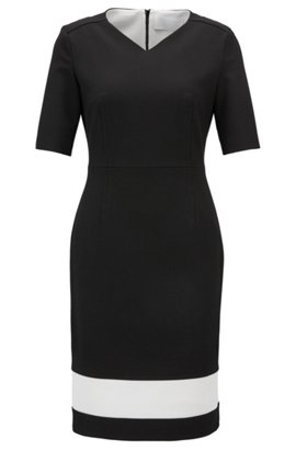 Bell-sleeve dress in structured stretch fabric BOSS KWhcizHbD