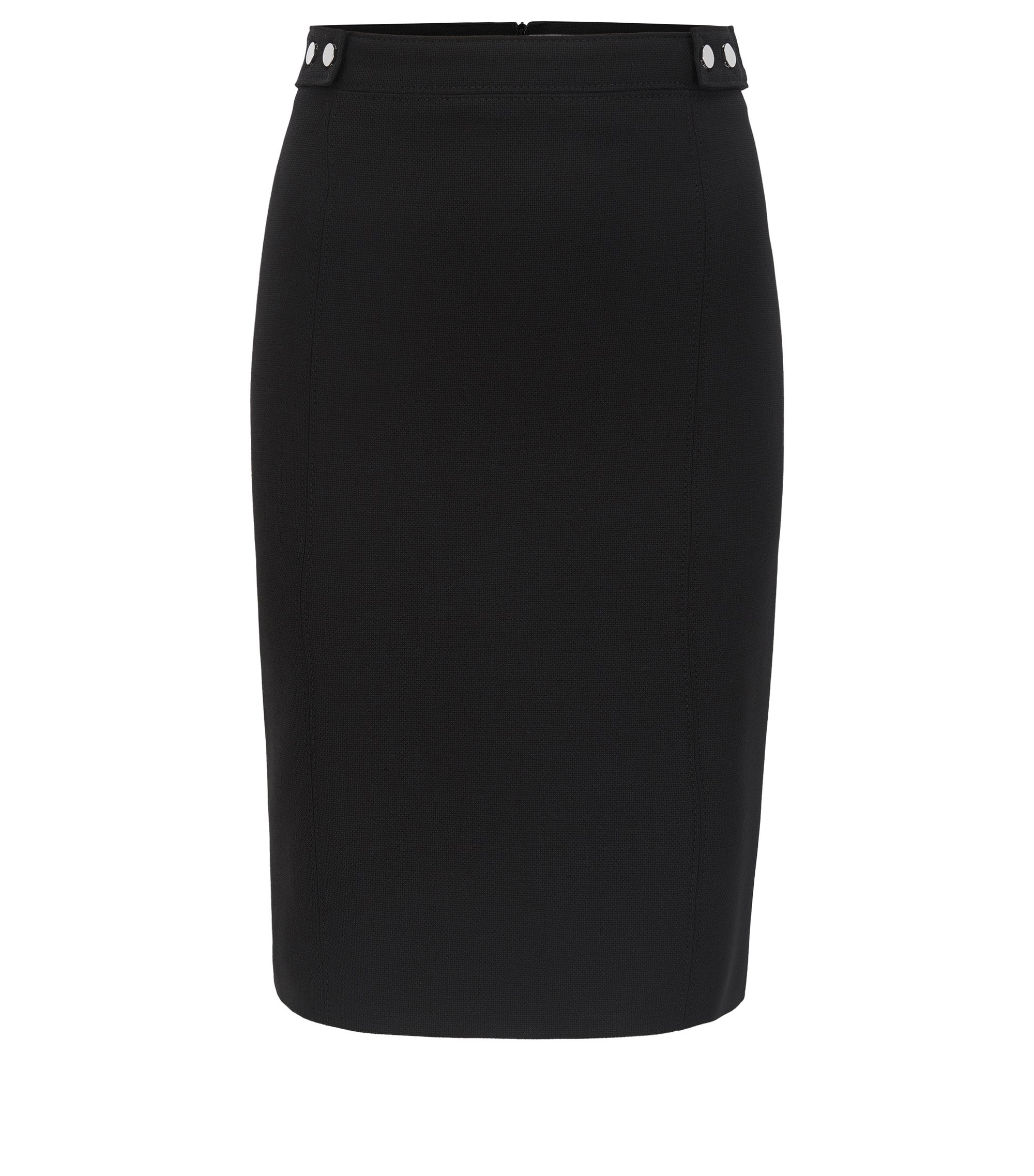 Pencil skirt in stretch virgin wool with stud details, Black