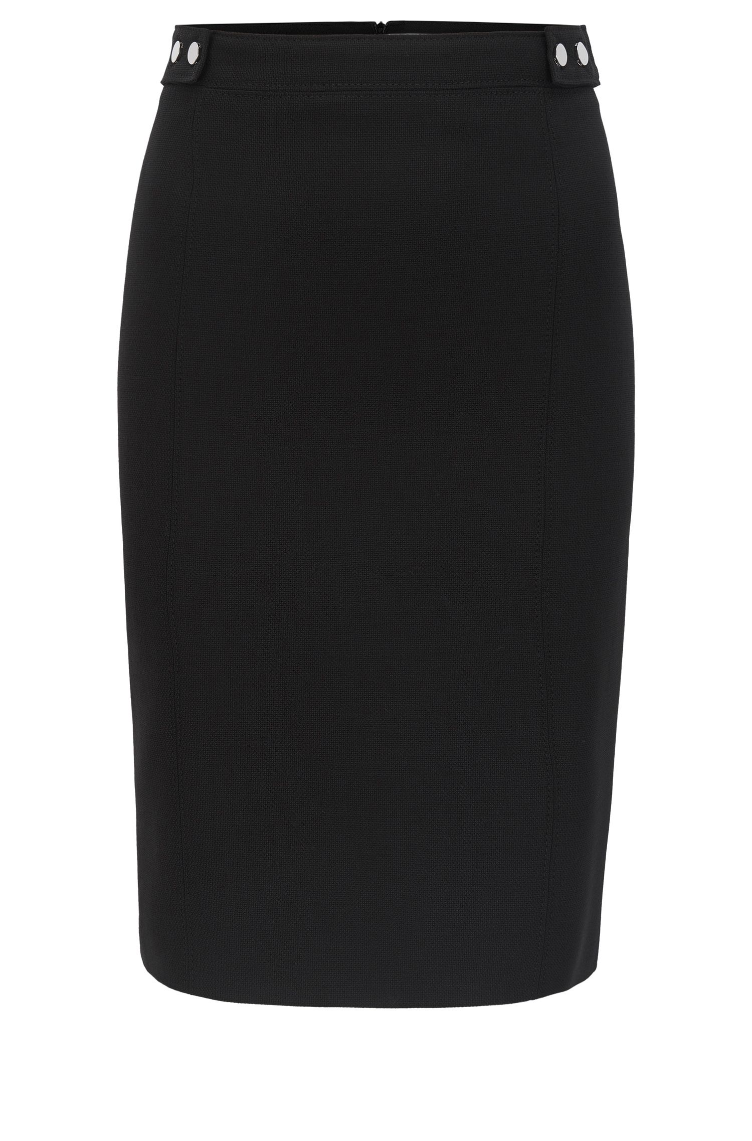 Pencil skirt in stretch virgin wool with stud details BOSS