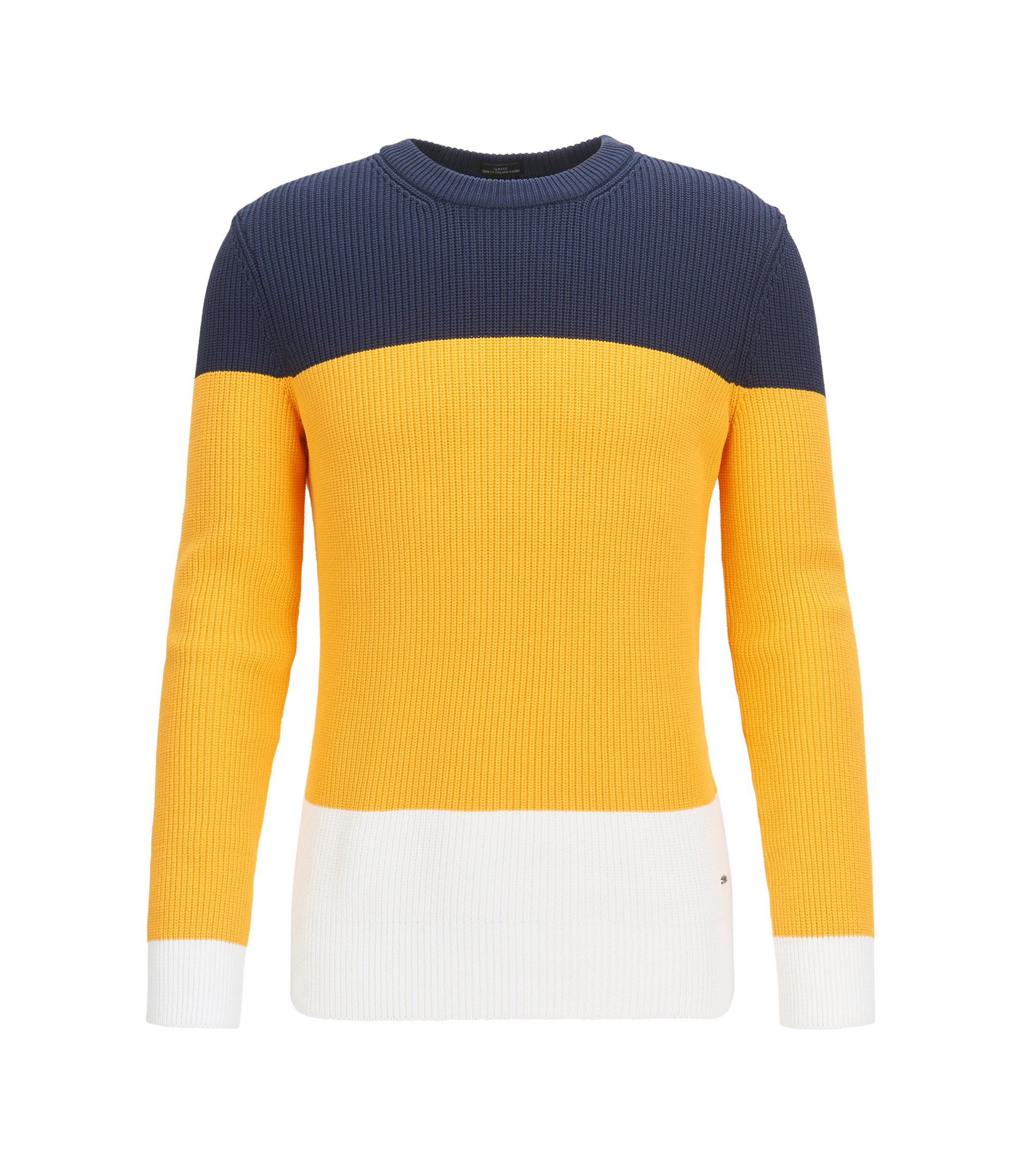 Gerippter Pullover aus Material-Mix mit Colour-Block-Design, Gold