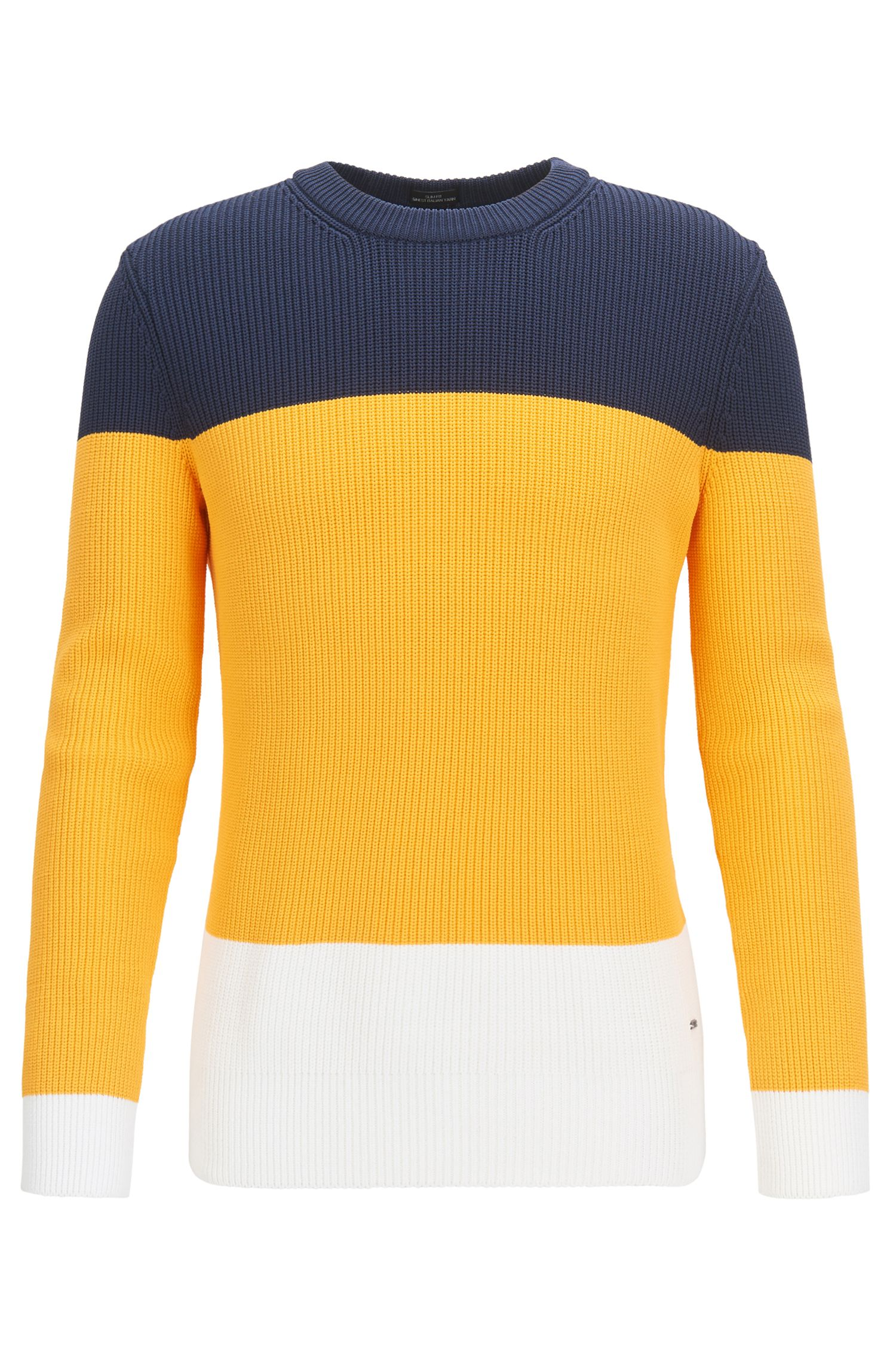Gerippter Pullover aus Material-Mix mit Colour-Block-Design