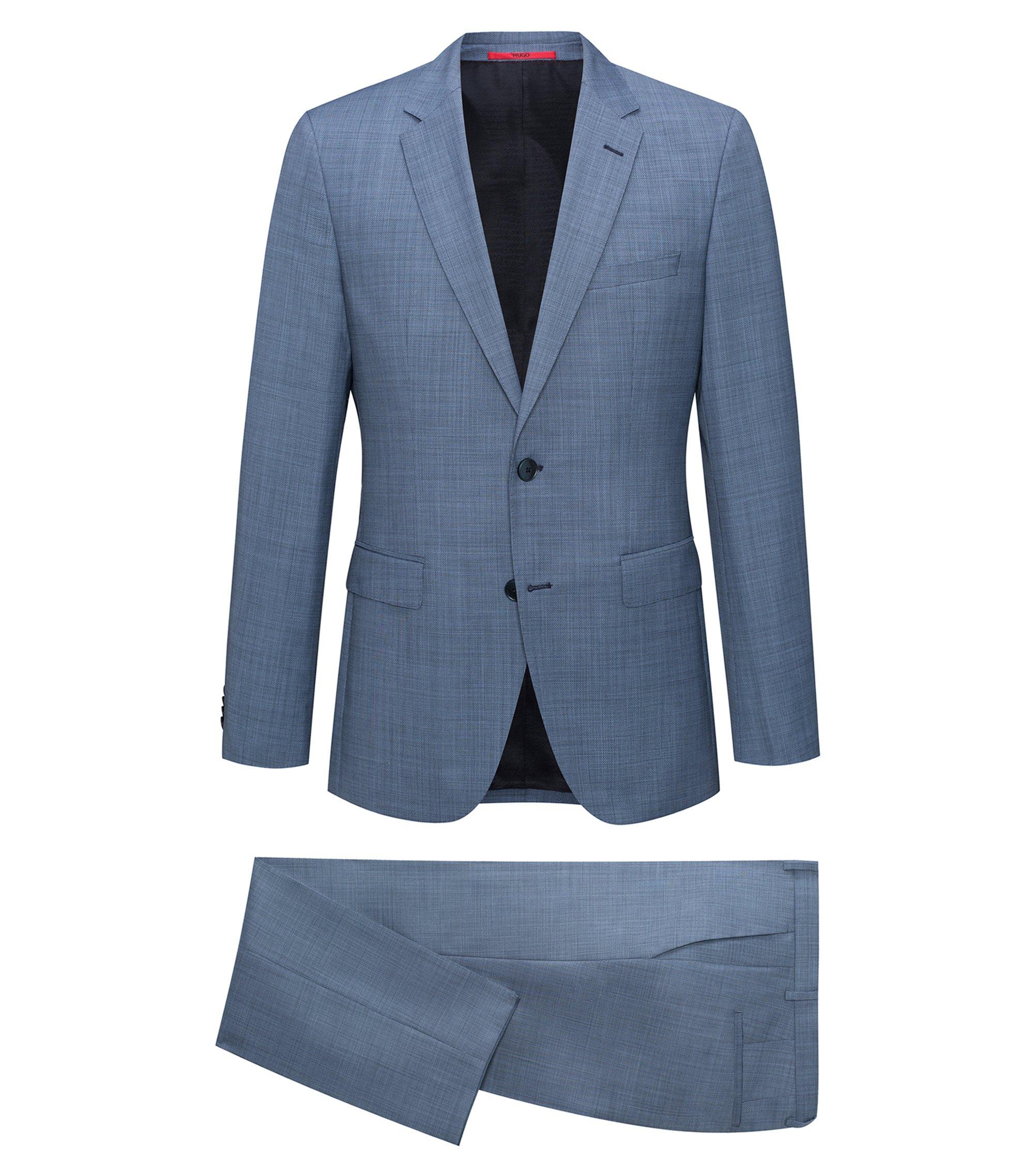 Regular-fit kostuum van een scheerwolmix met dessin, Donkerblauw