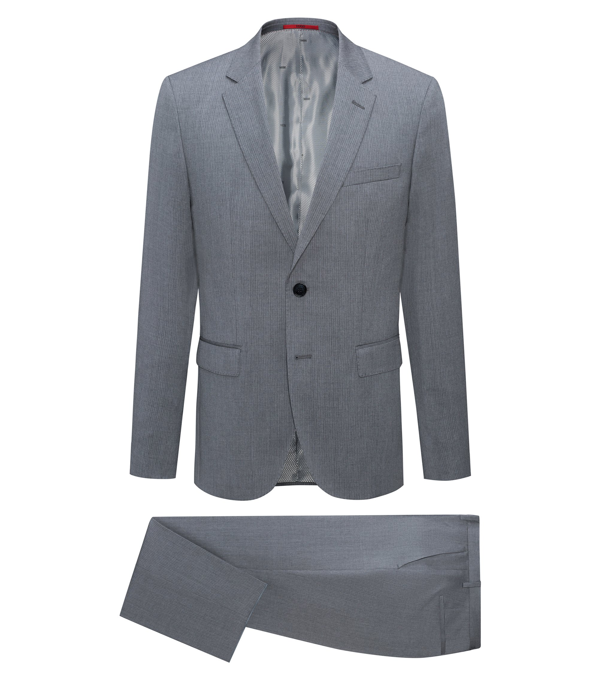 Regular-fit pinstripe suit in virgin wool, Dark Grey