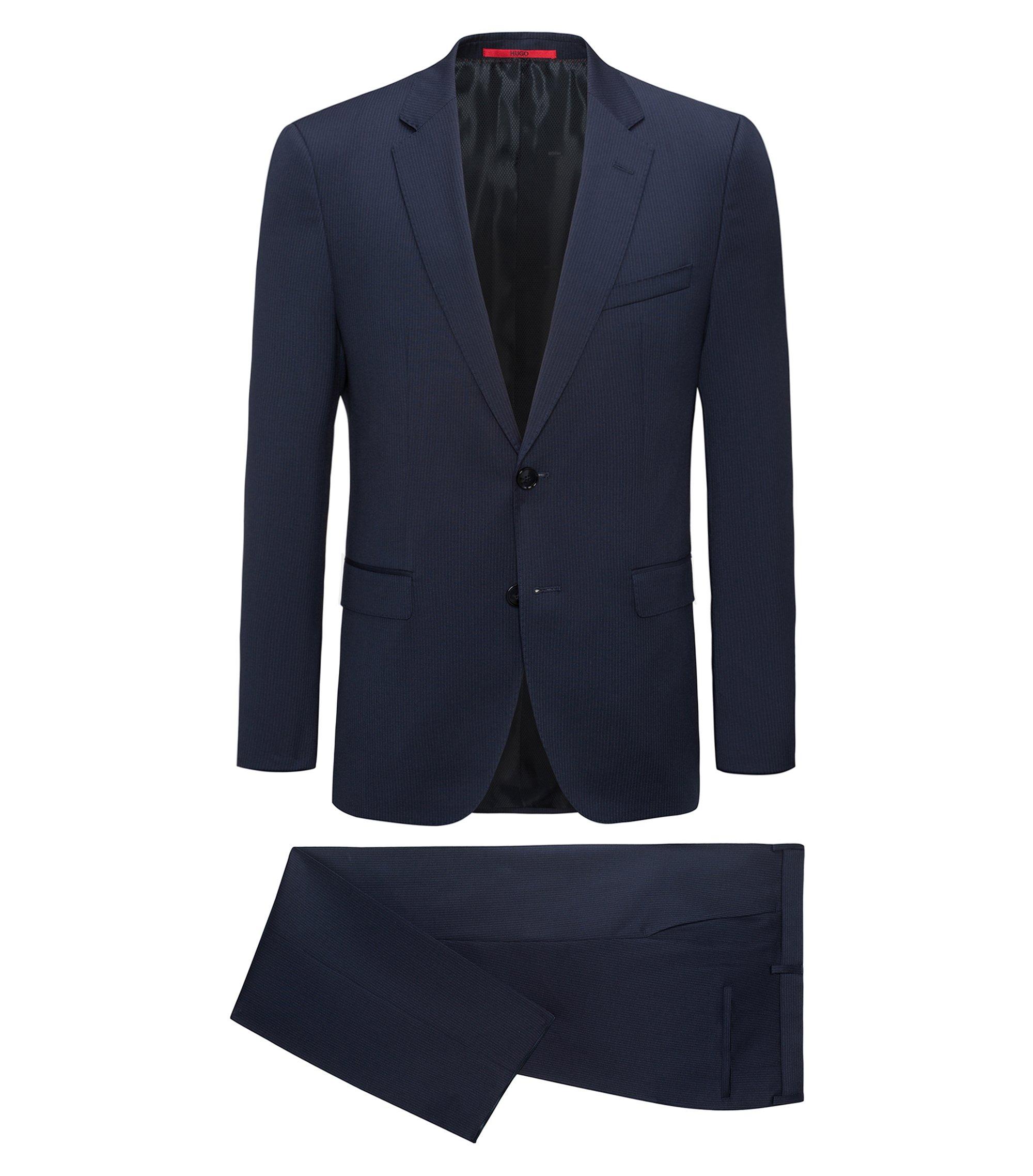 Costume Regular Fit en laine vierge à rayures tennis, Bleu foncé