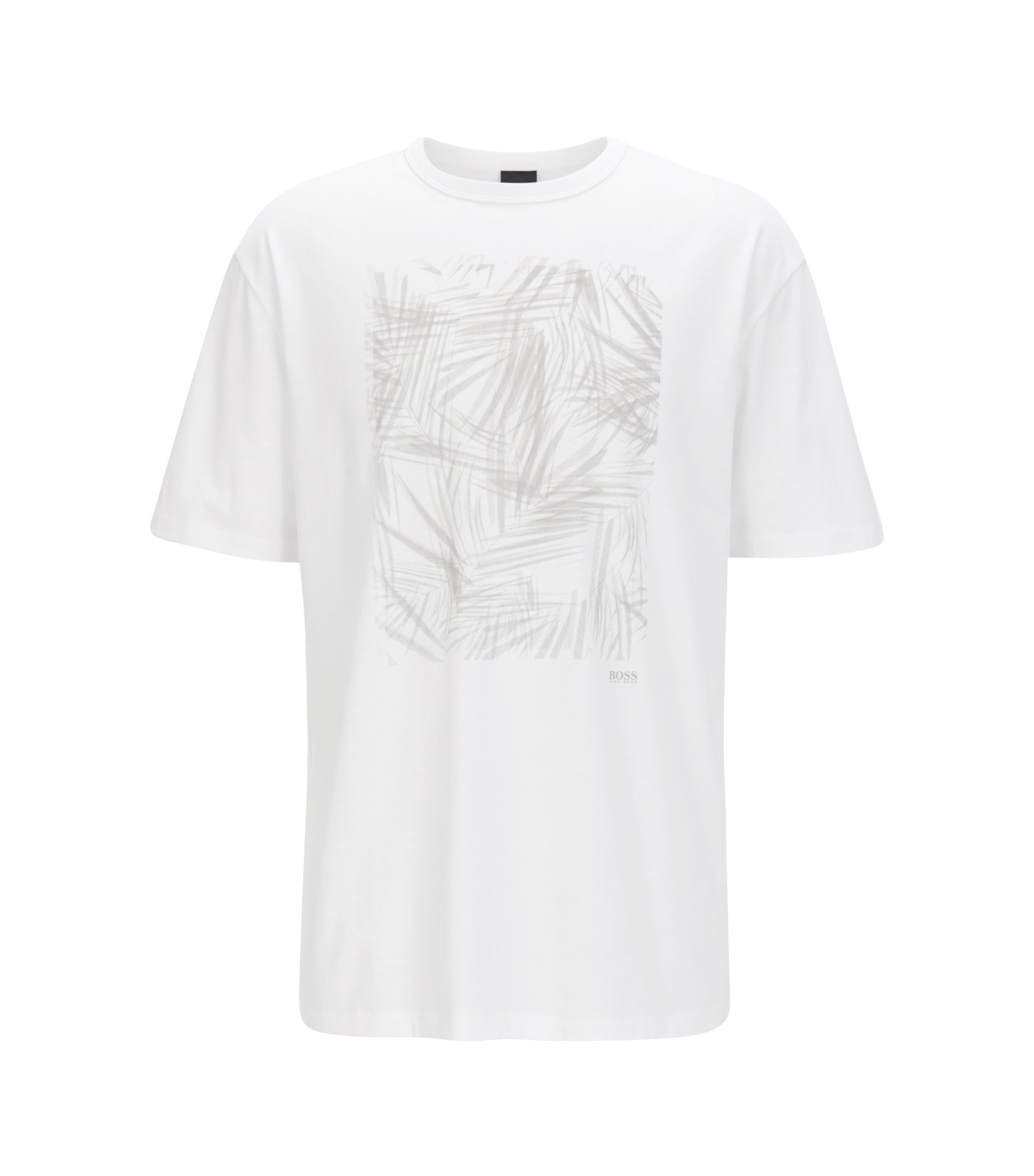 Printed crew-neck T-shirt in mercerised single jersey, White