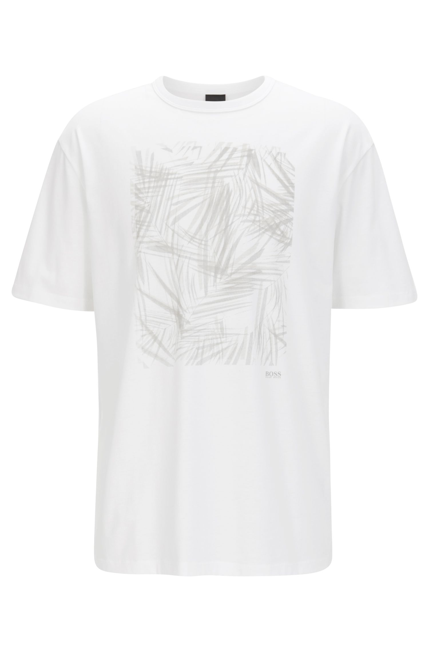 Printed crew-neck T-shirt in mercerised single jersey