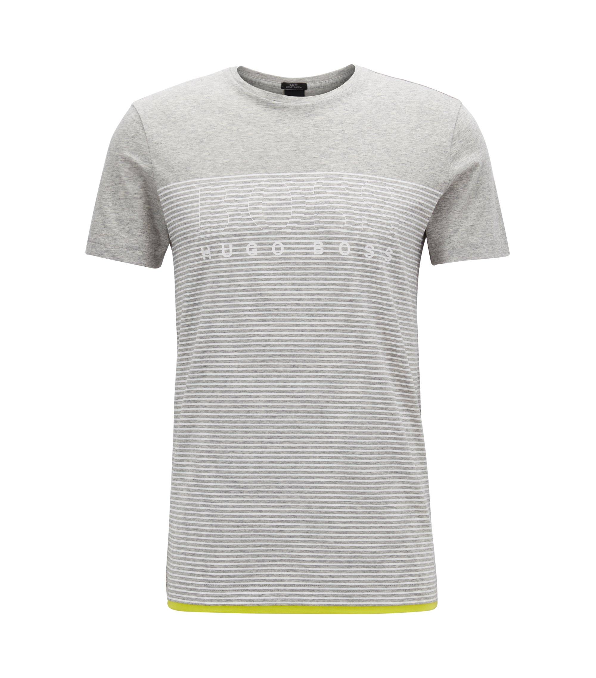T-shirt a righe slim fit in cotone, Grigio chiaro