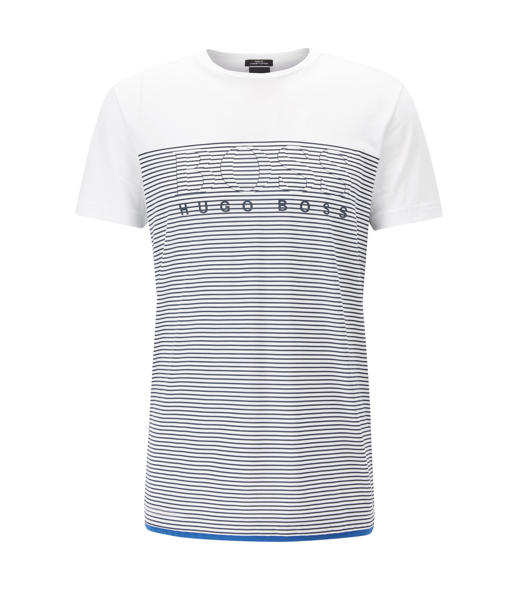 Slim-fit striped T-shirt in cotton, White