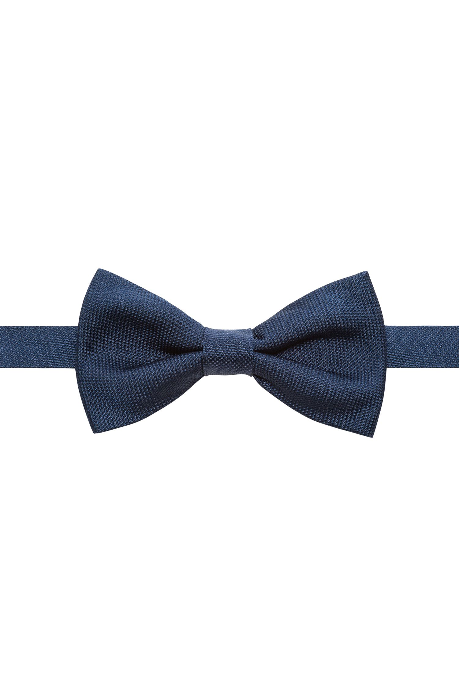 Pure-silk bow tie with jacquard structure, Dark Blue