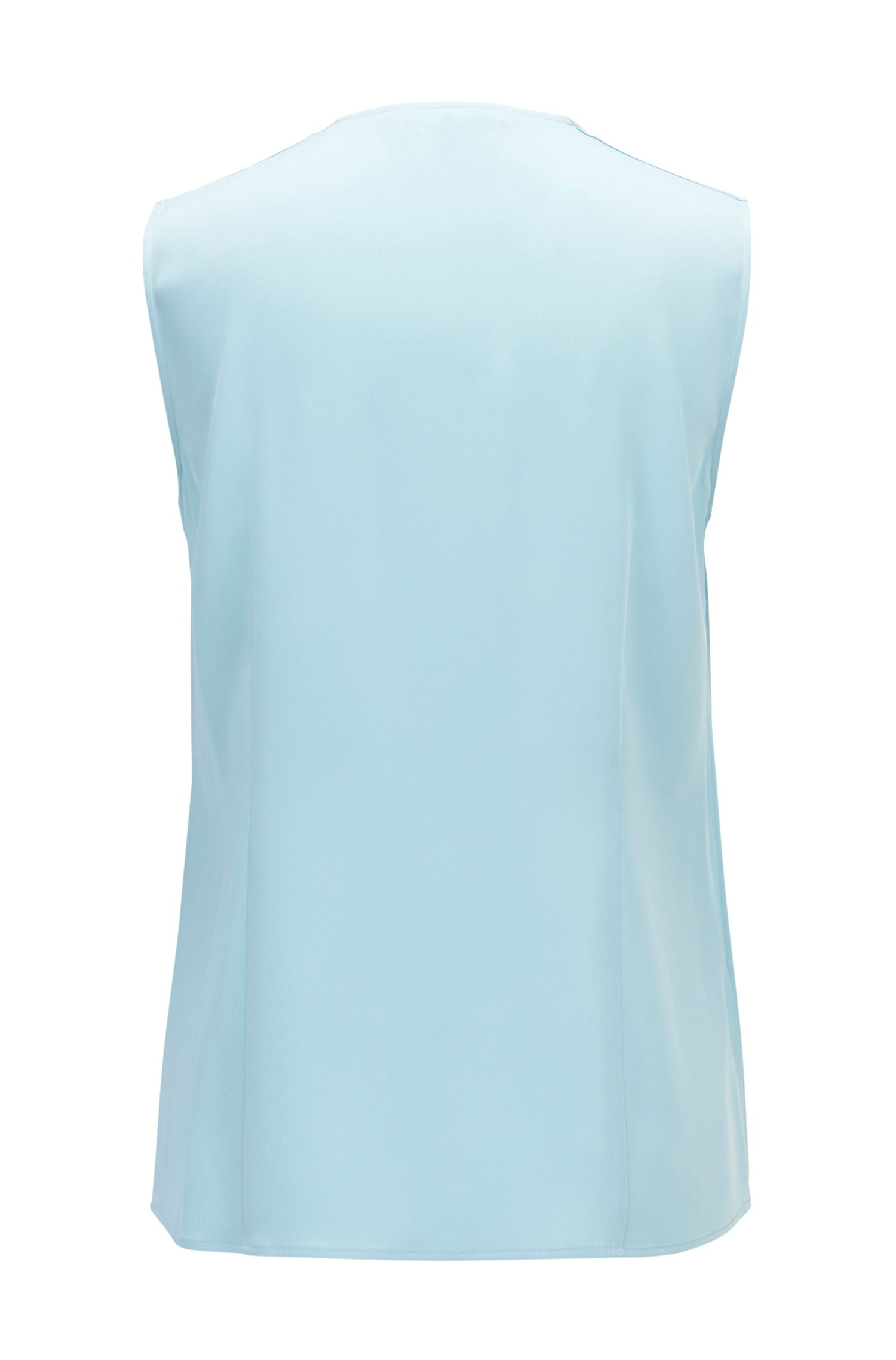 Sleeveless top in stretch silk with drawstring bow