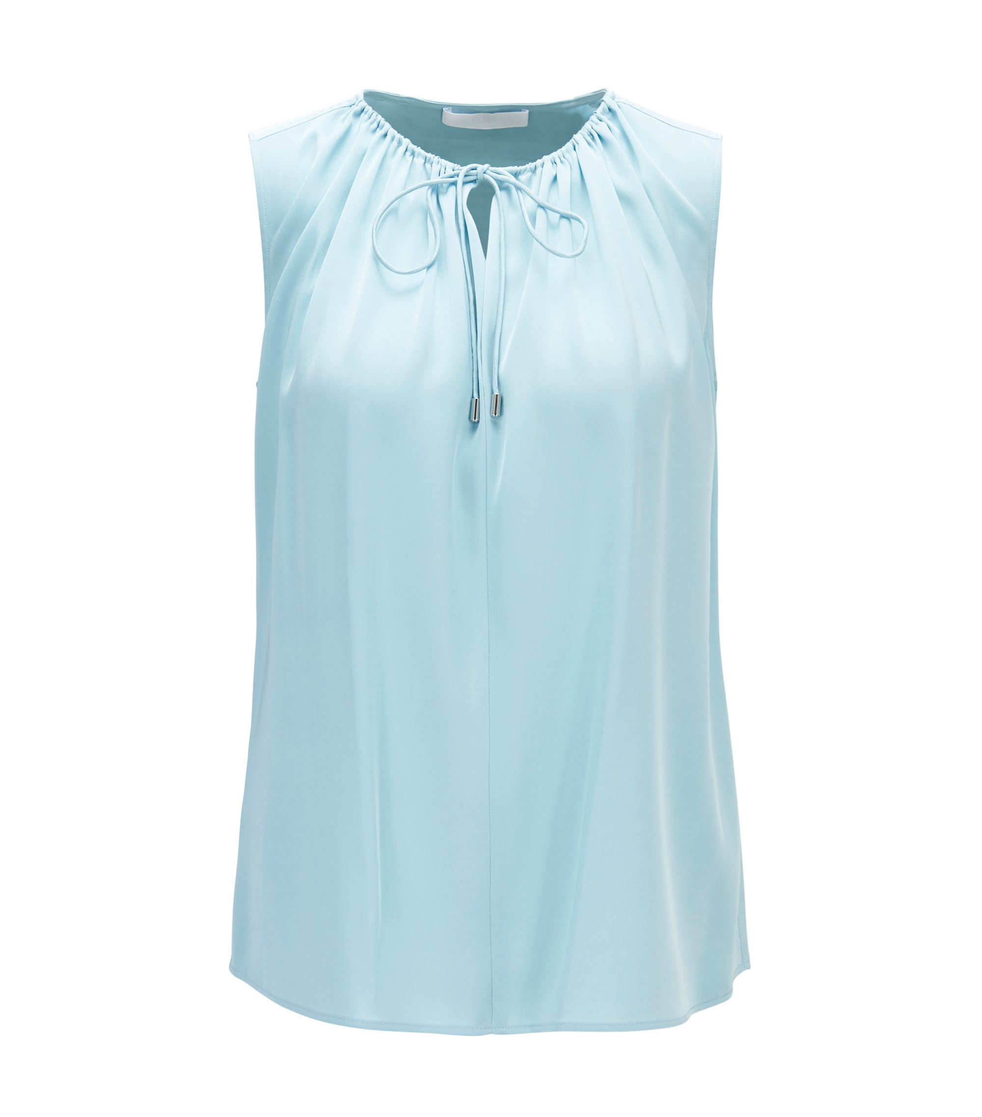 Sleeveless top in stretch silk with drawstring bow, Light Blue