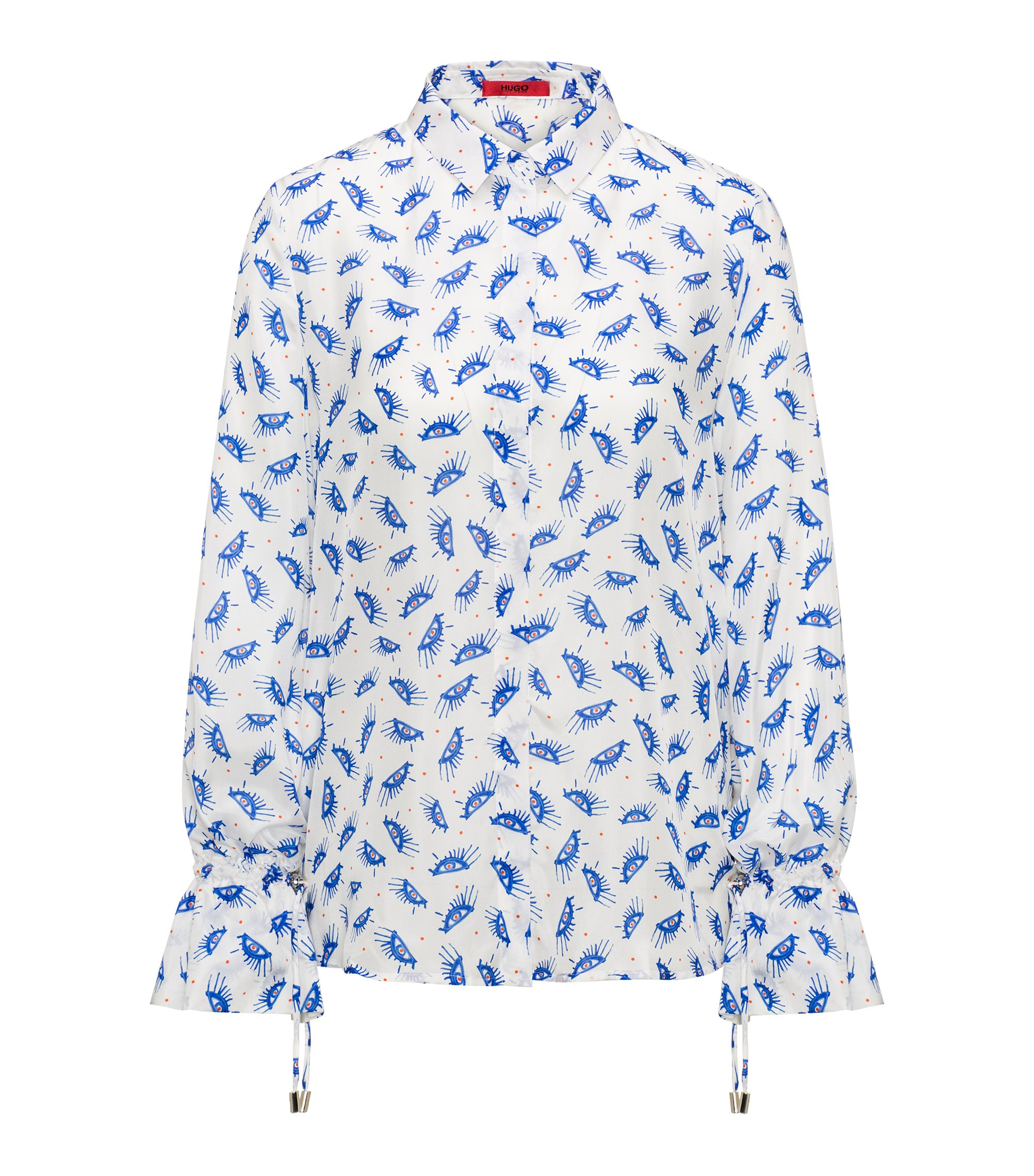 Printed silk blouse with gathered cuffs, Patterned