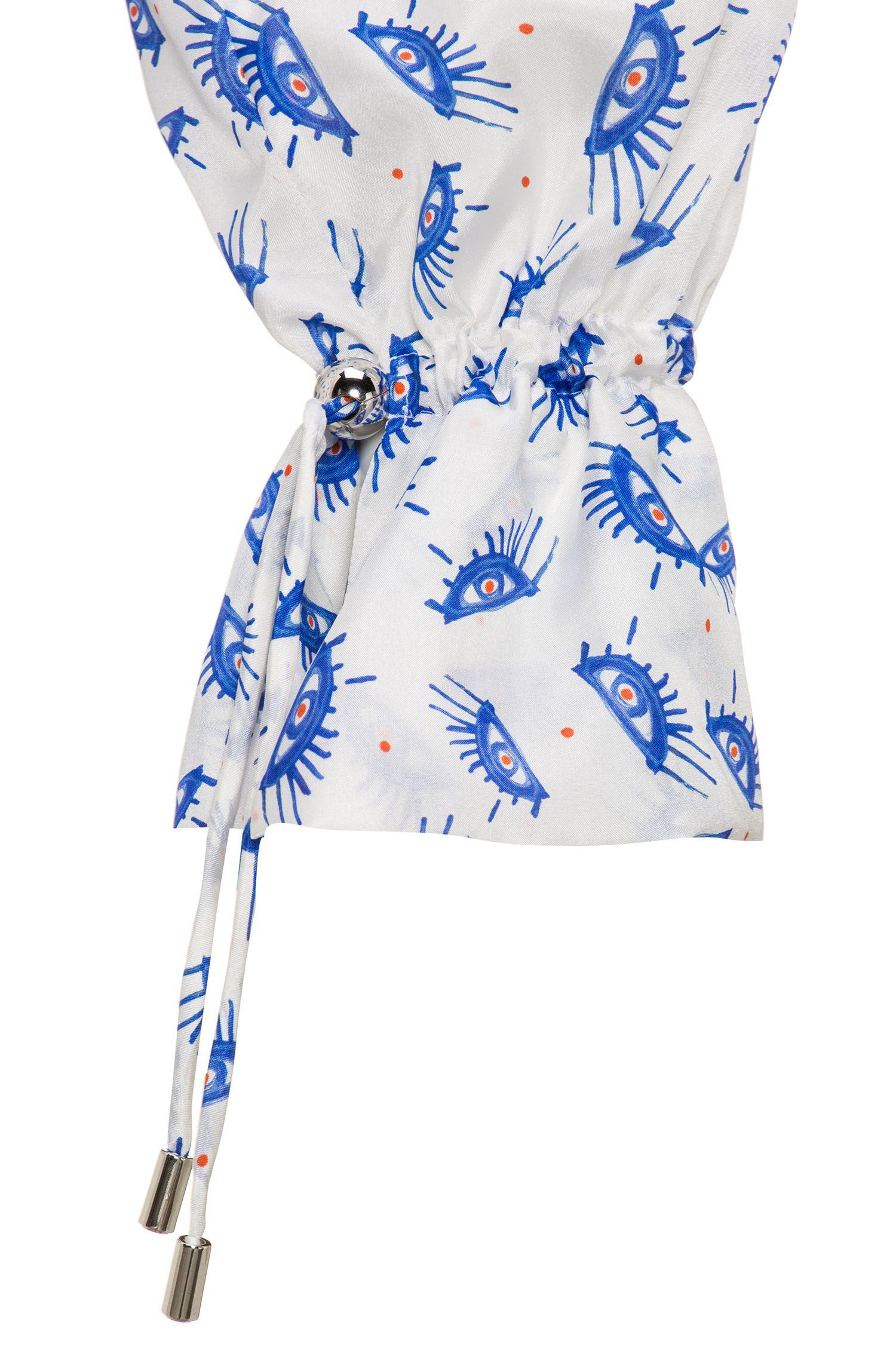 Zijden blouse met print en plooiboorden