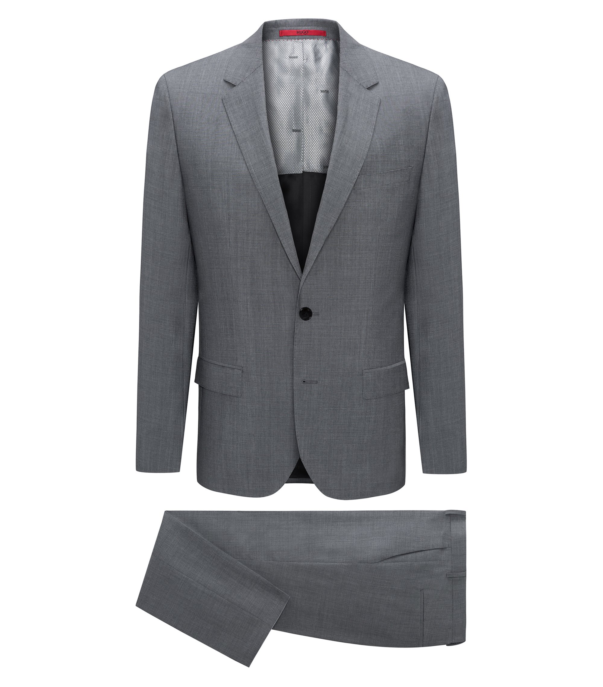 Costume Slim Fit en laine vierge à micro-carreaux, Gris