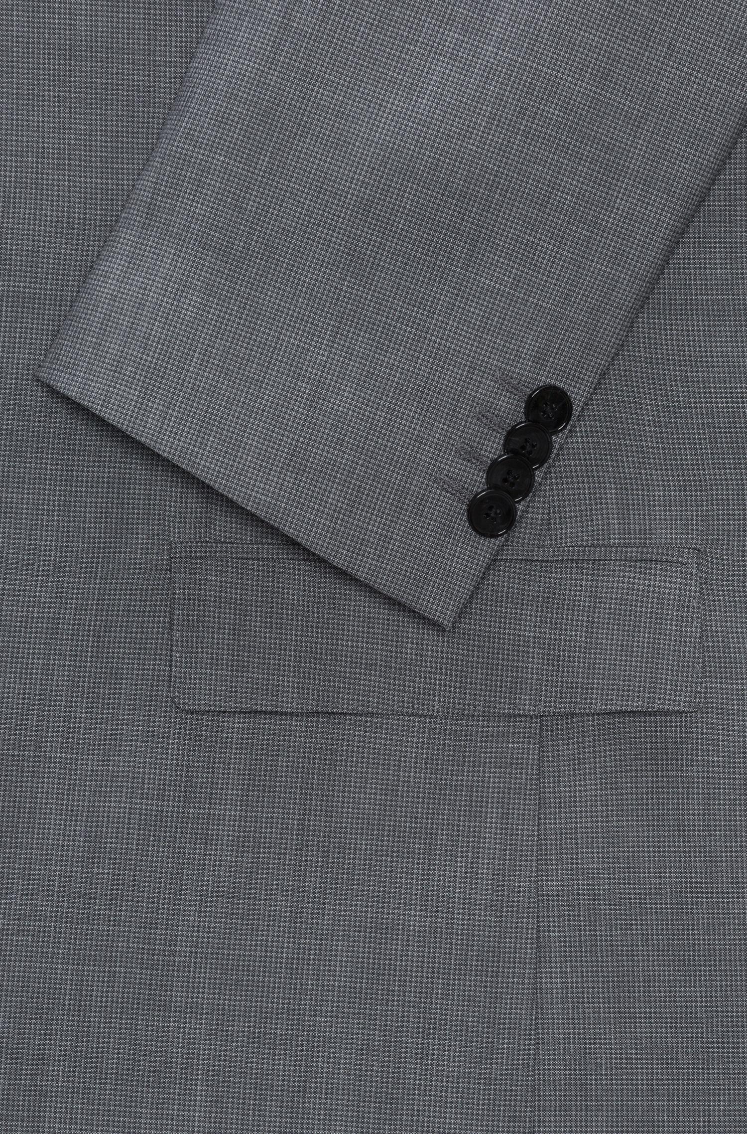 Slim-fit suit in micro-check virgin wool