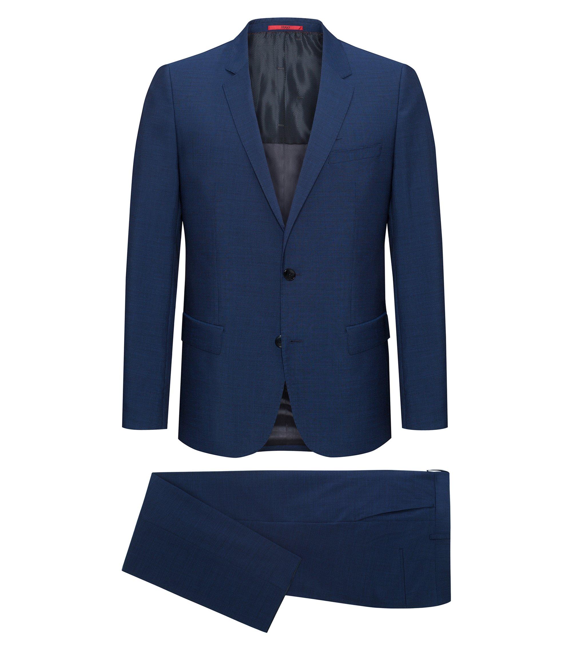 Slim-fit kostuum van scheerwol met microruitdessin, Lichtblauw