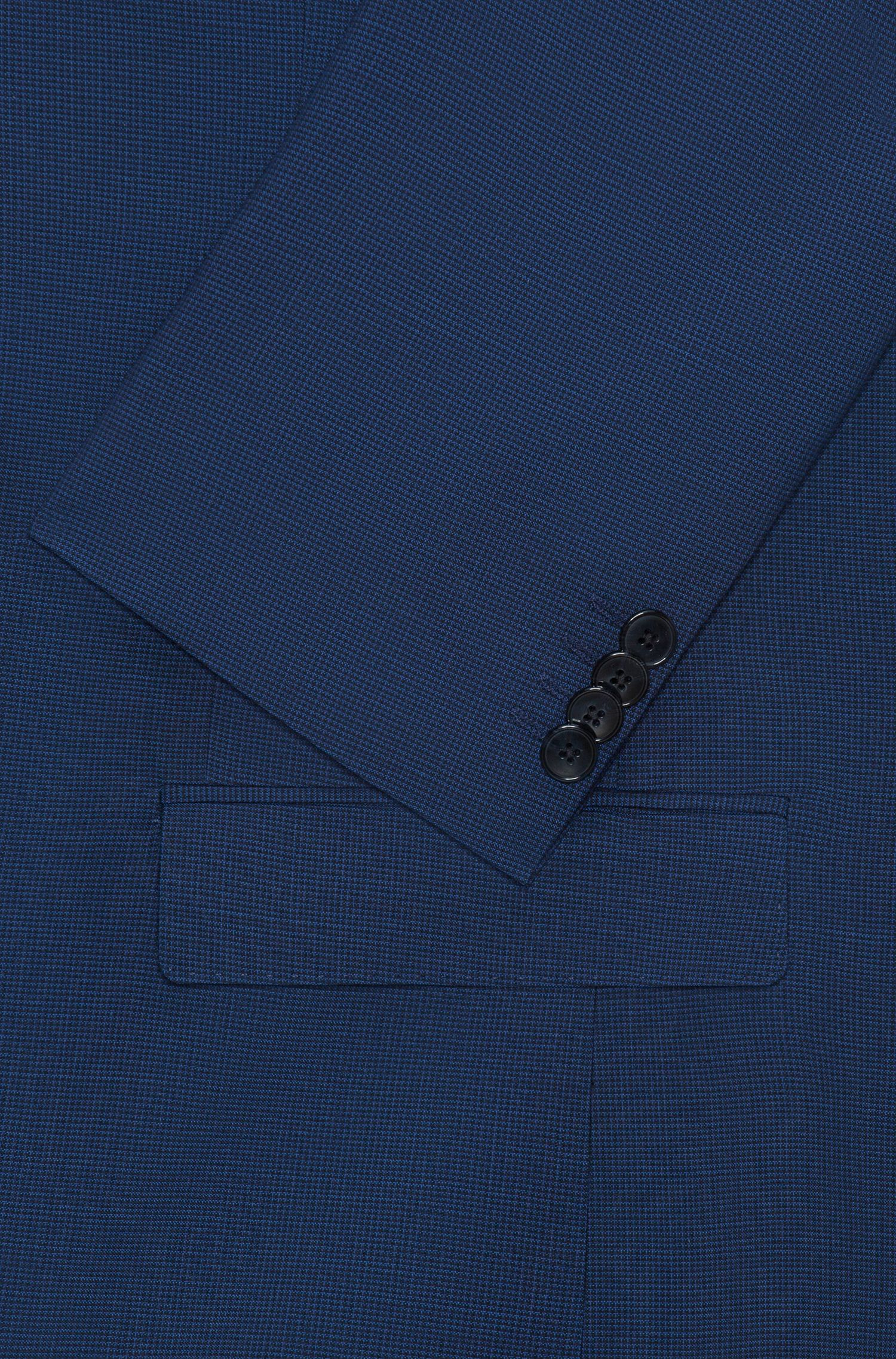 Traje slim fit en lana virgen con estampado de microcuadros
